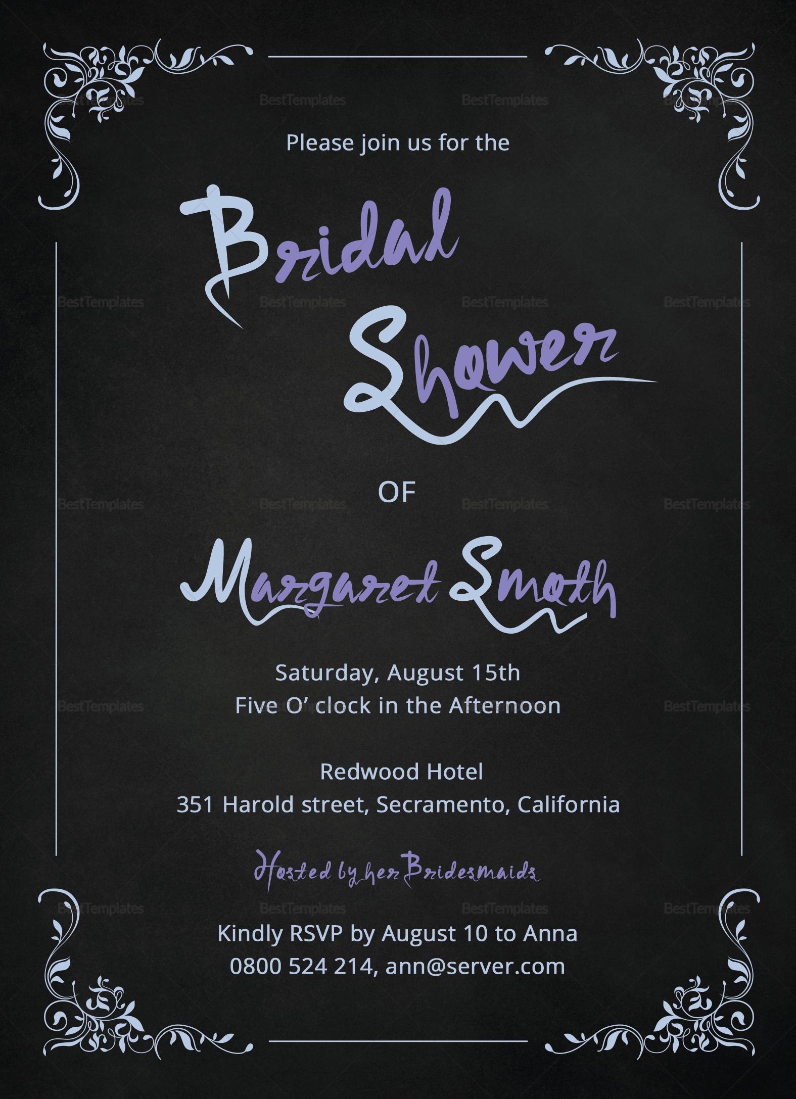 Chalkboard Bridal Shower Invitation Design Template