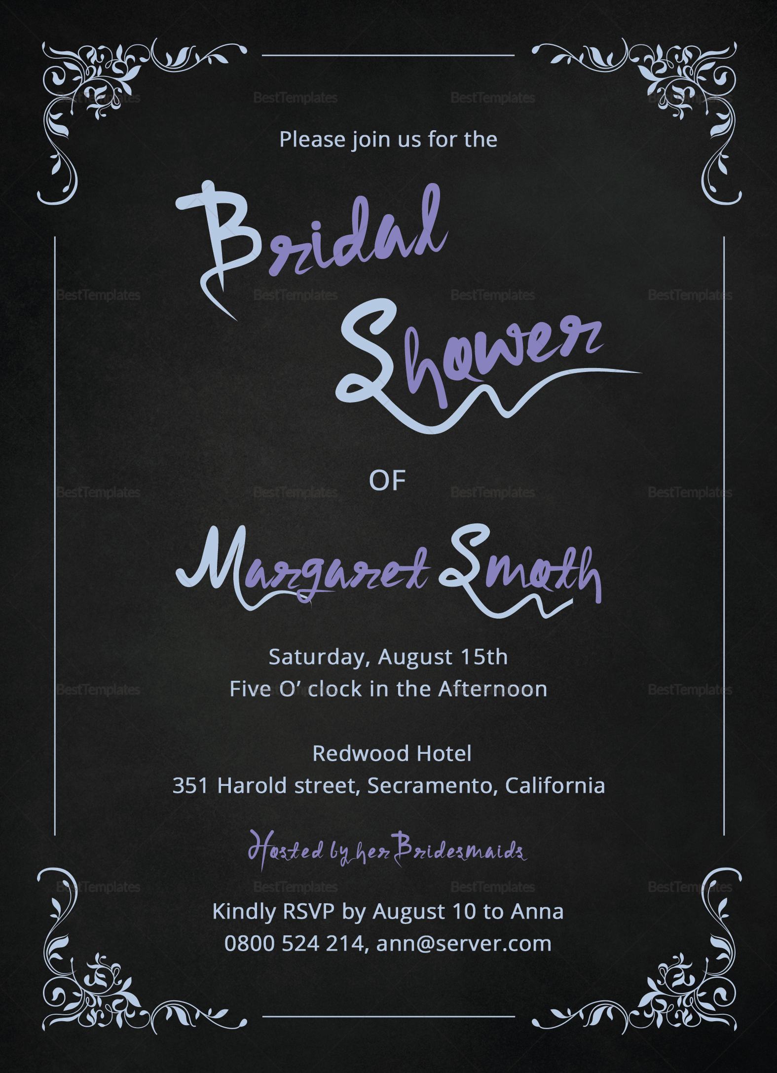 Chalkboard Bridal Shower Invitation Design Template In For Microsoft Word