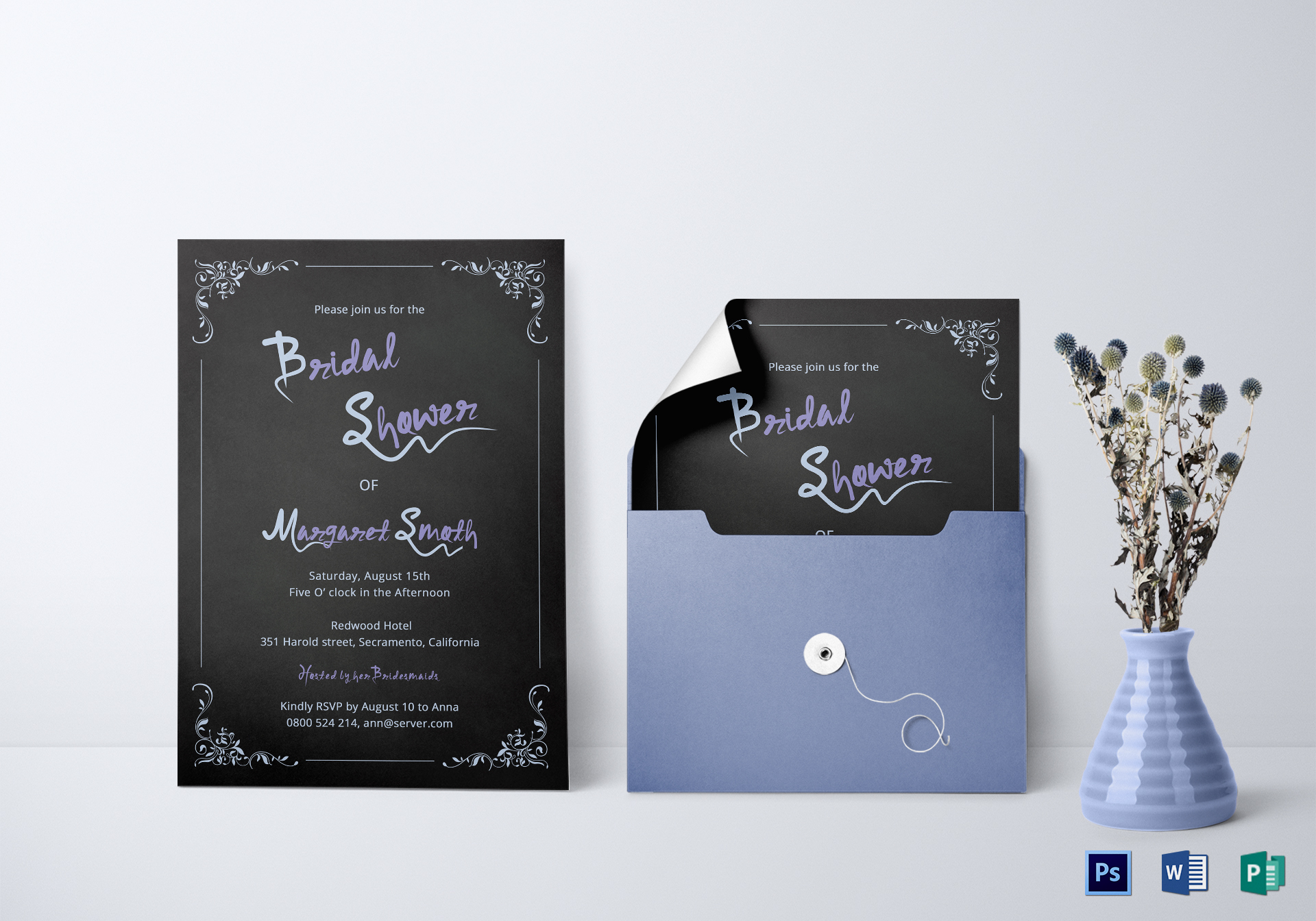 Chalkboard Bridal Shower Invitation Template