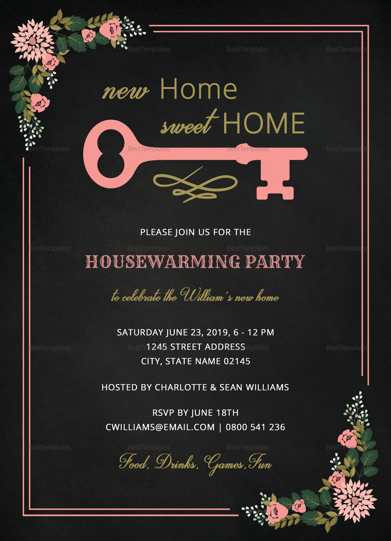 chalkboard housewarming invitation design template in word psd publisher. Black Bedroom Furniture Sets. Home Design Ideas
