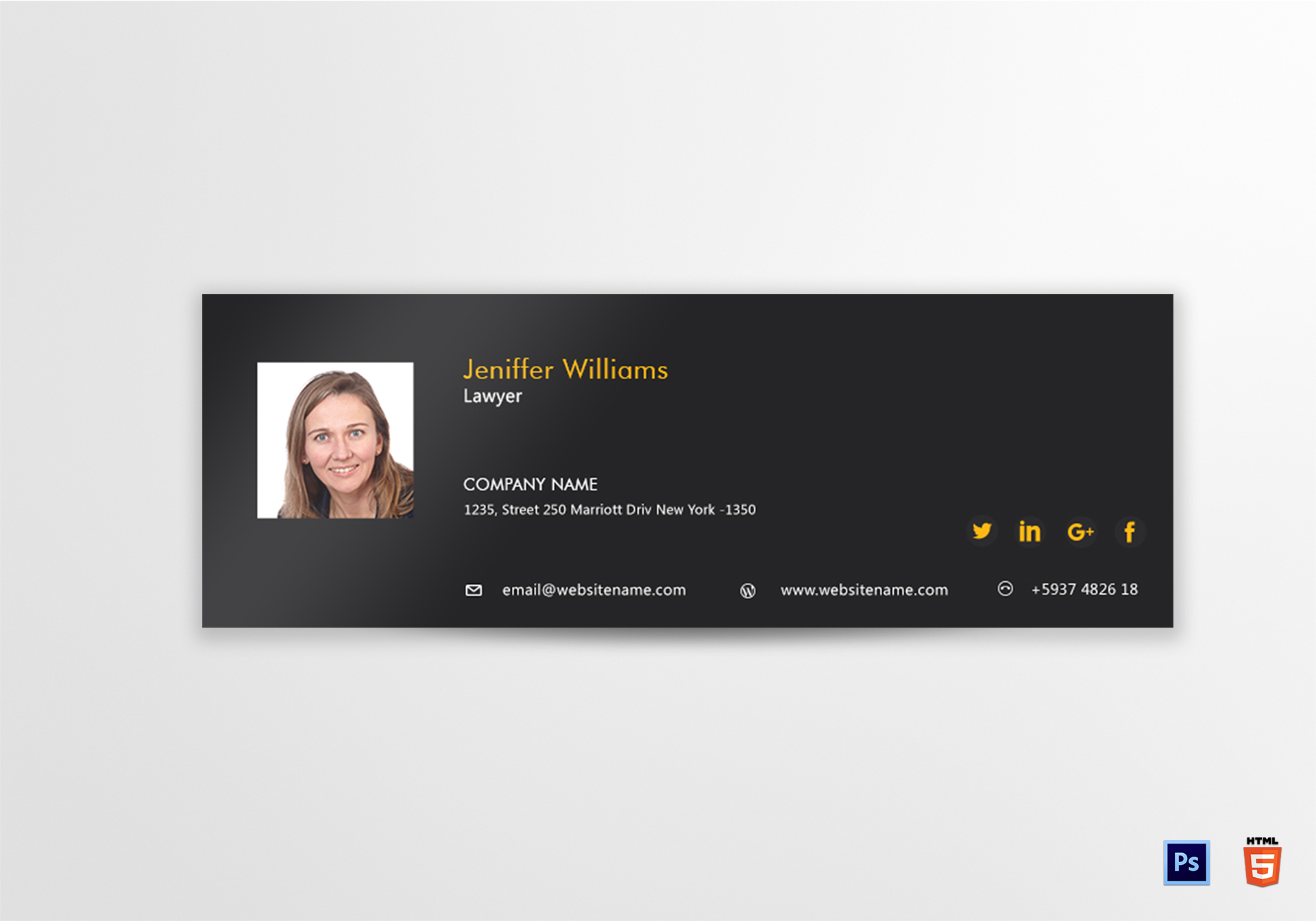 Lawyer Email Signature Design Template in PSD, HTML