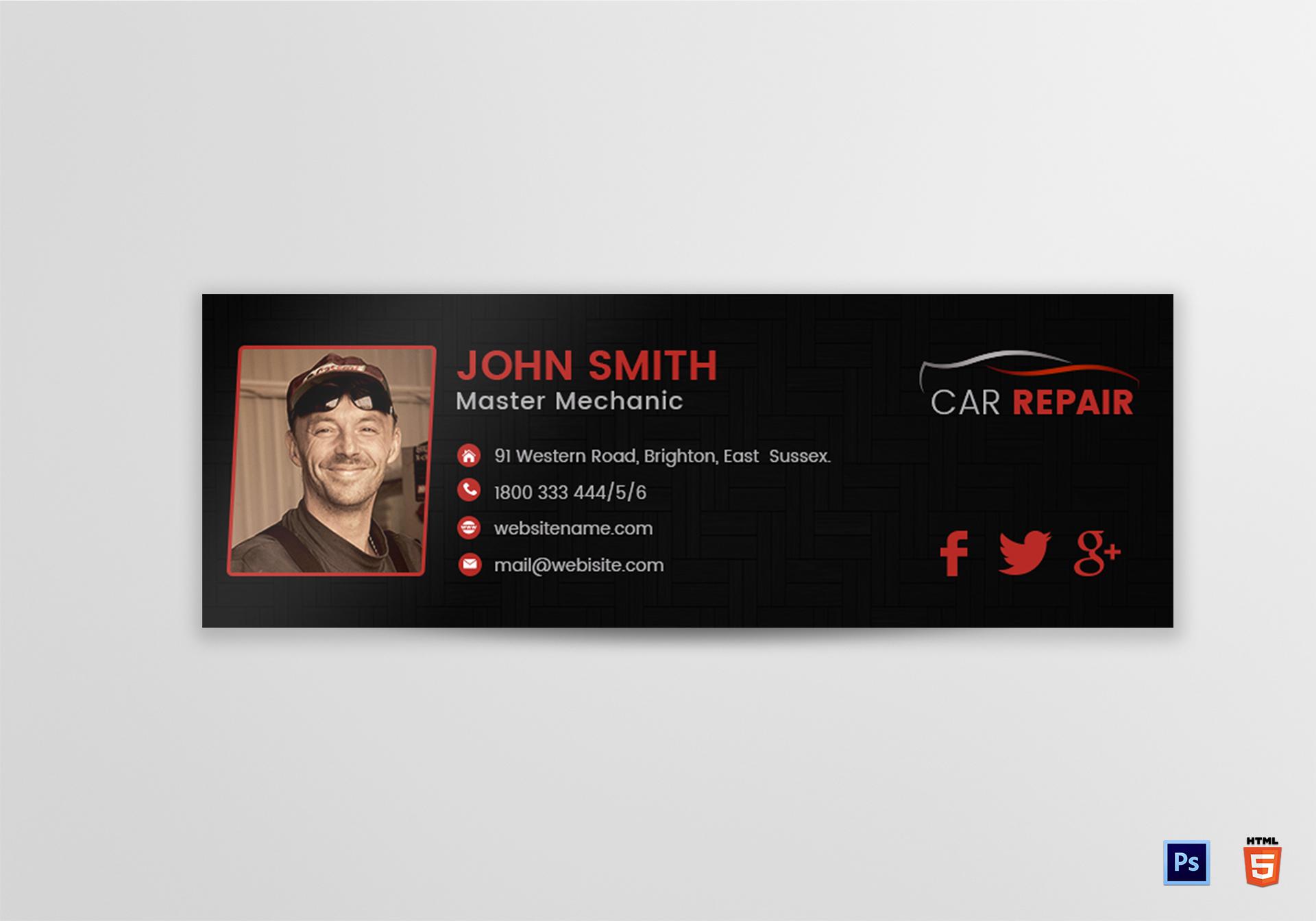 Car Repair Email Signature