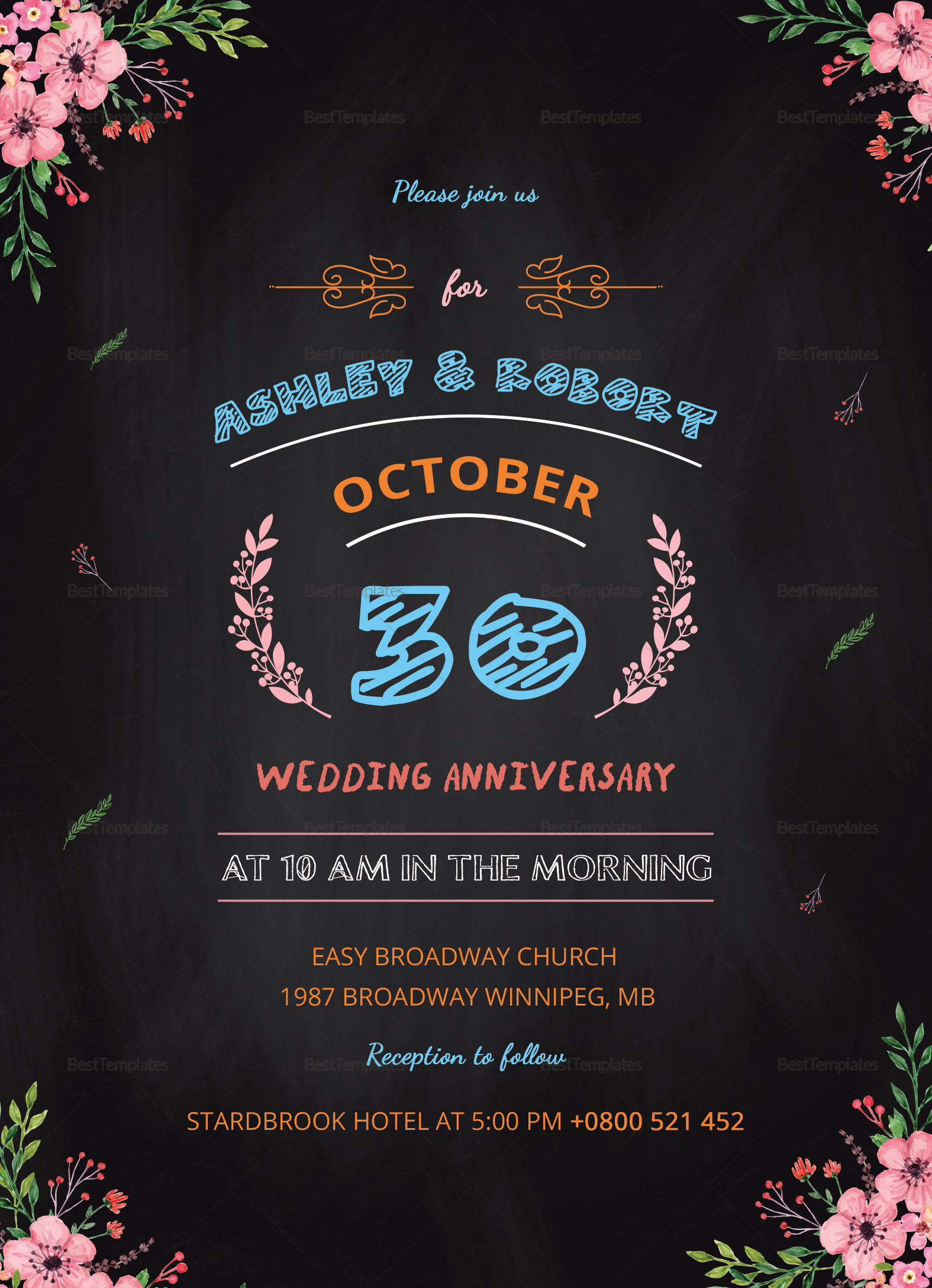 Chalkboard Wedding Anniversary Invitation Design Template