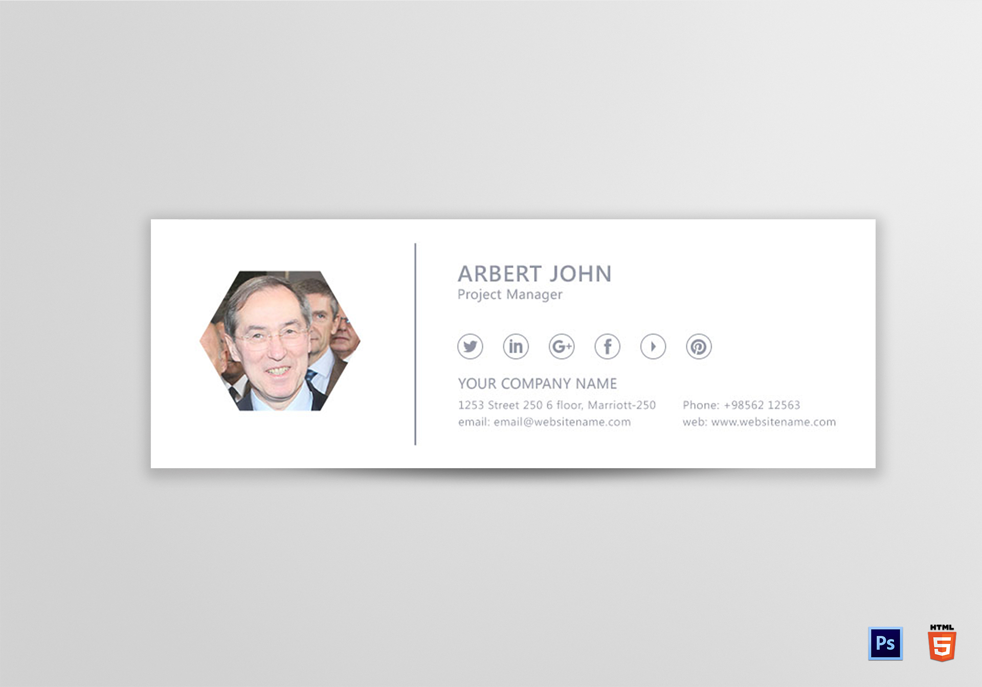 Project manager email signature design template in psd html for Project manager email templates