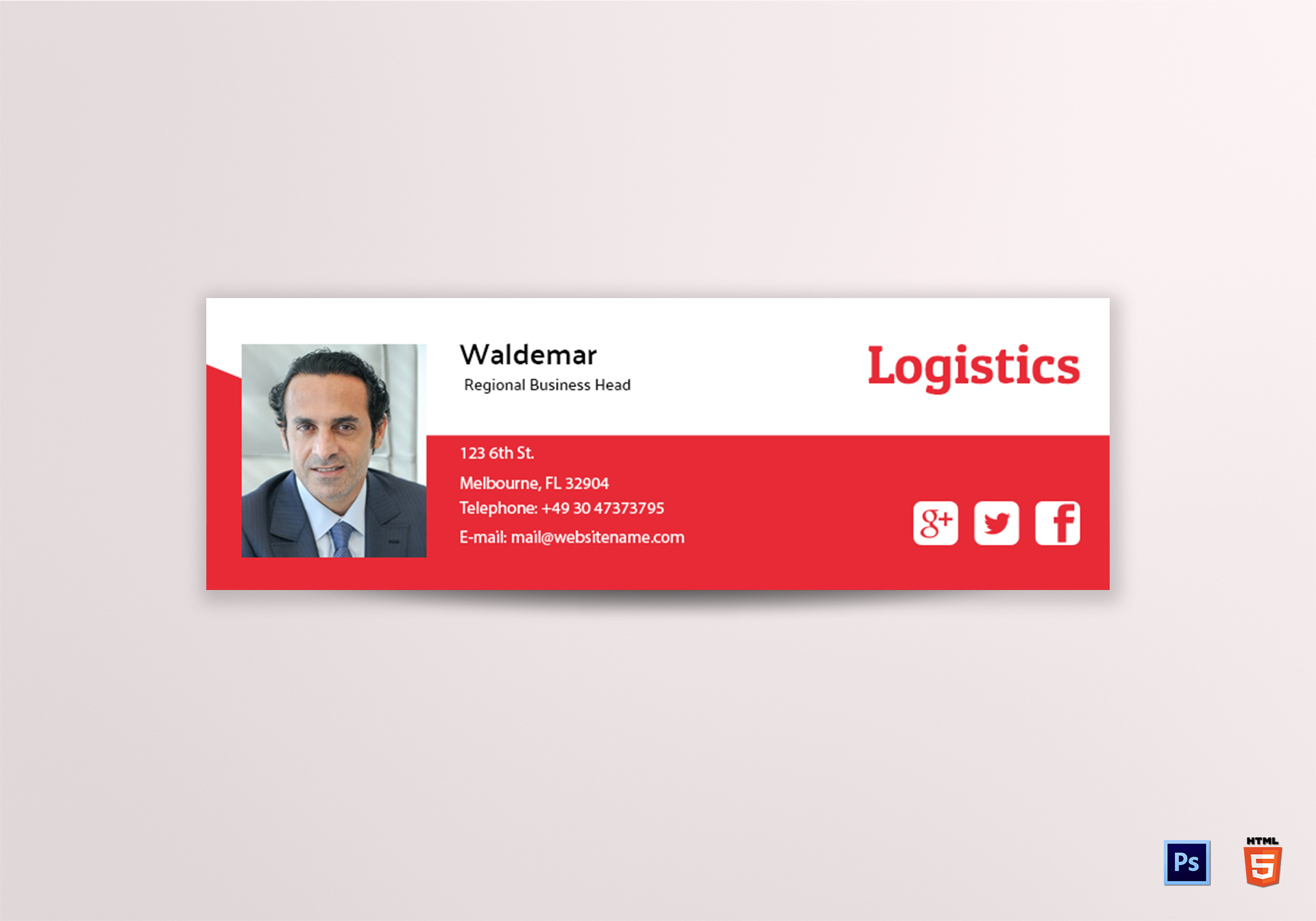 Logistics Email Signature Design Template In Psd Html