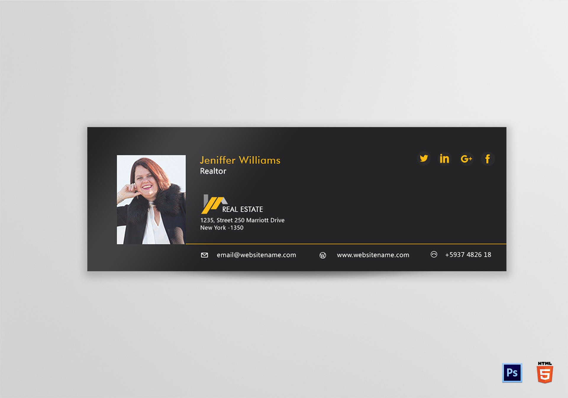 Realtor Email Signature Design Template in PSD, HTML