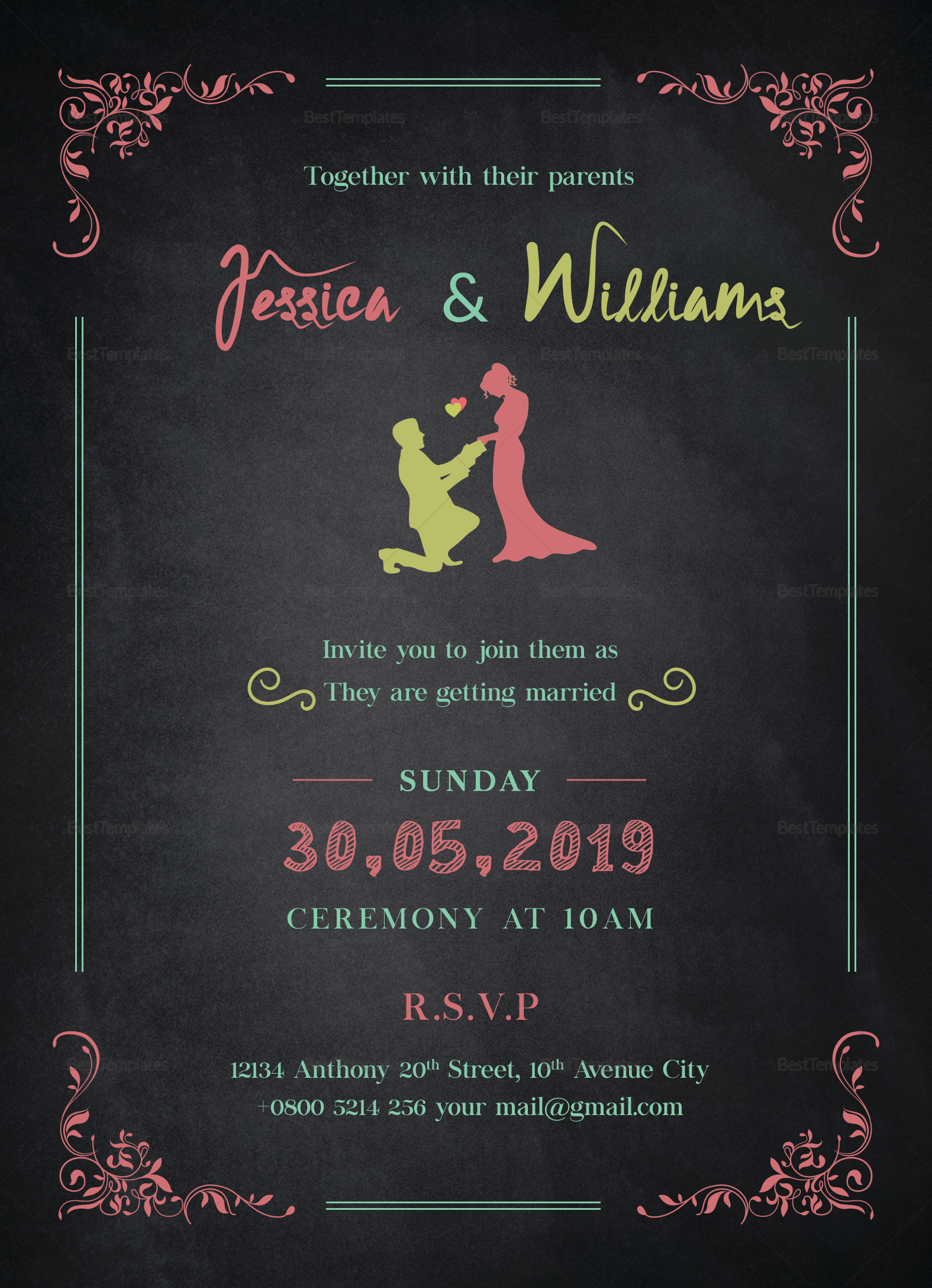 Chalkboard Wedding Invitation Design Template
