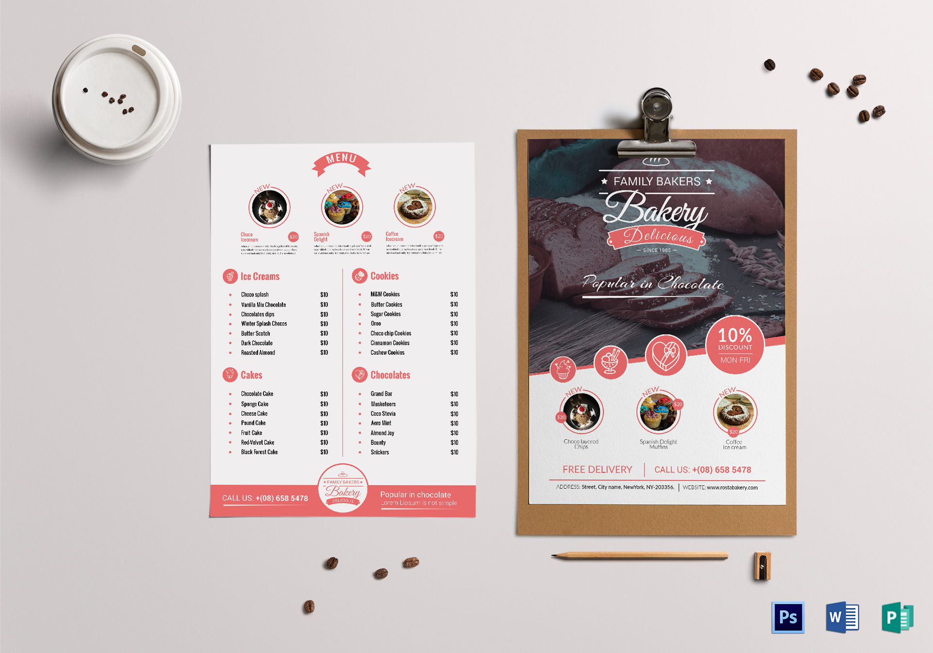 cherry bakery menu design template in psd  word  publisher