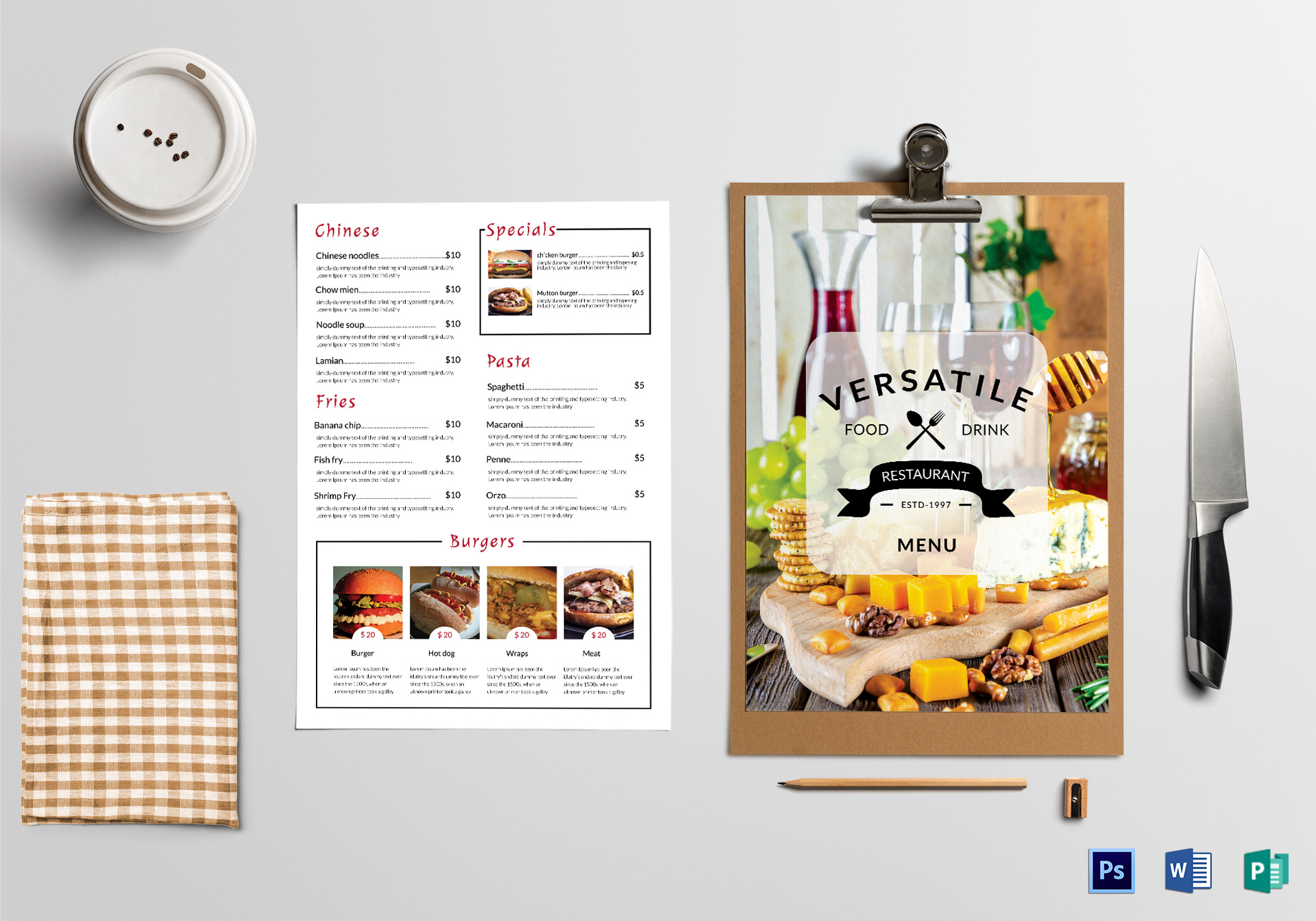simple food menu design template in psd  word  publisher
