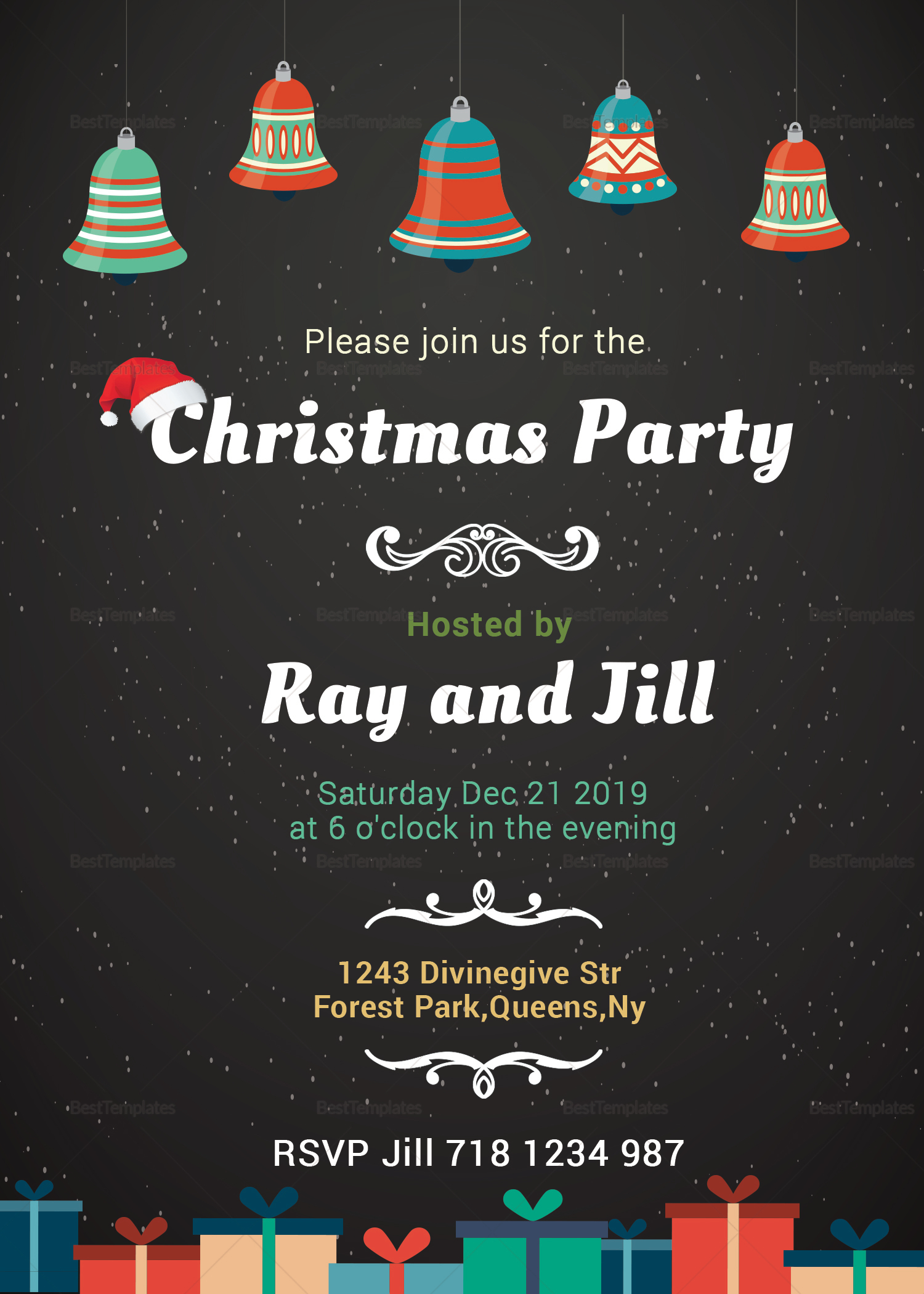 Chalkboard Christmas Invitation Card Design Template
