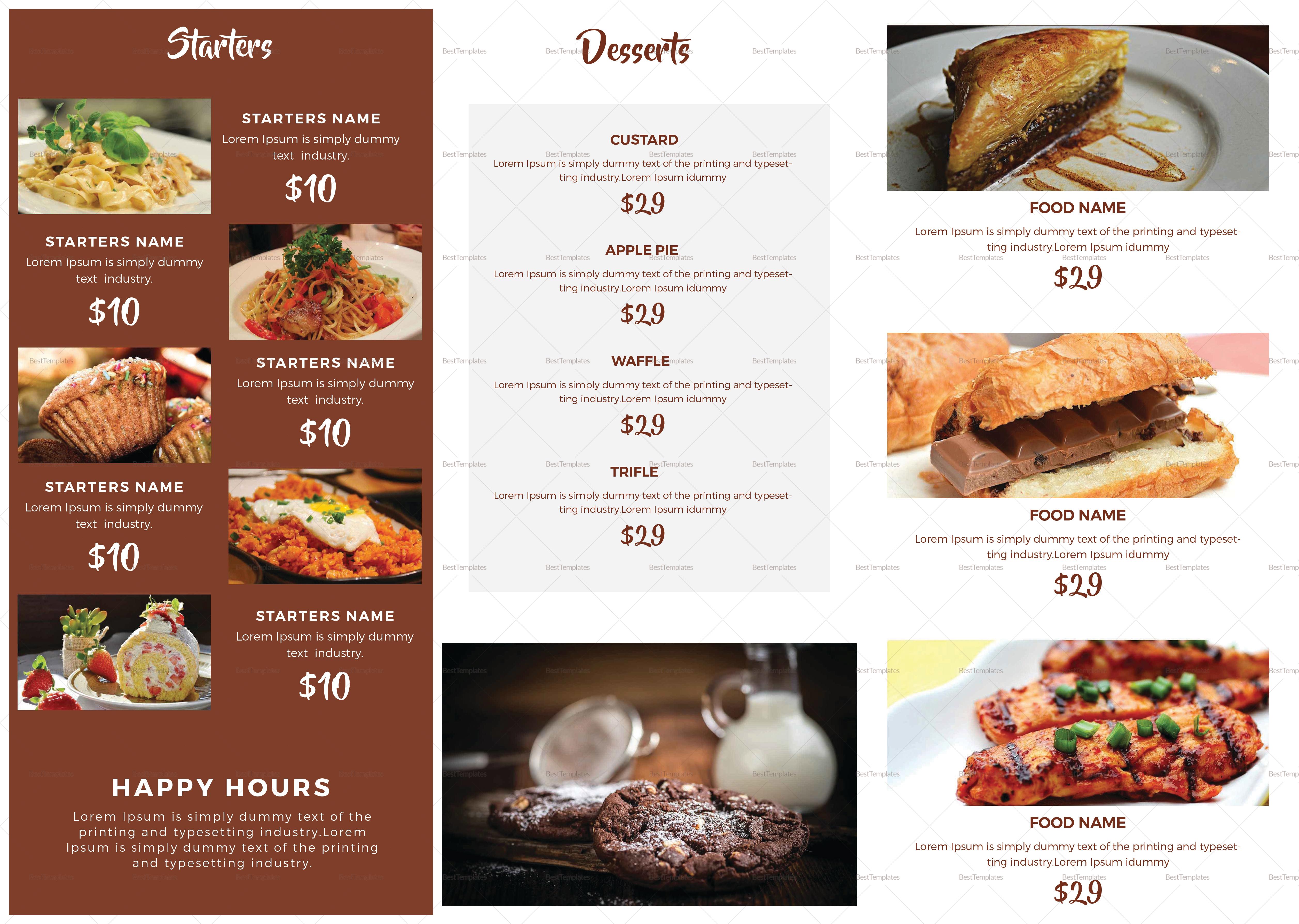 Restro Cafe Tri-Fold Brochure Menu Template