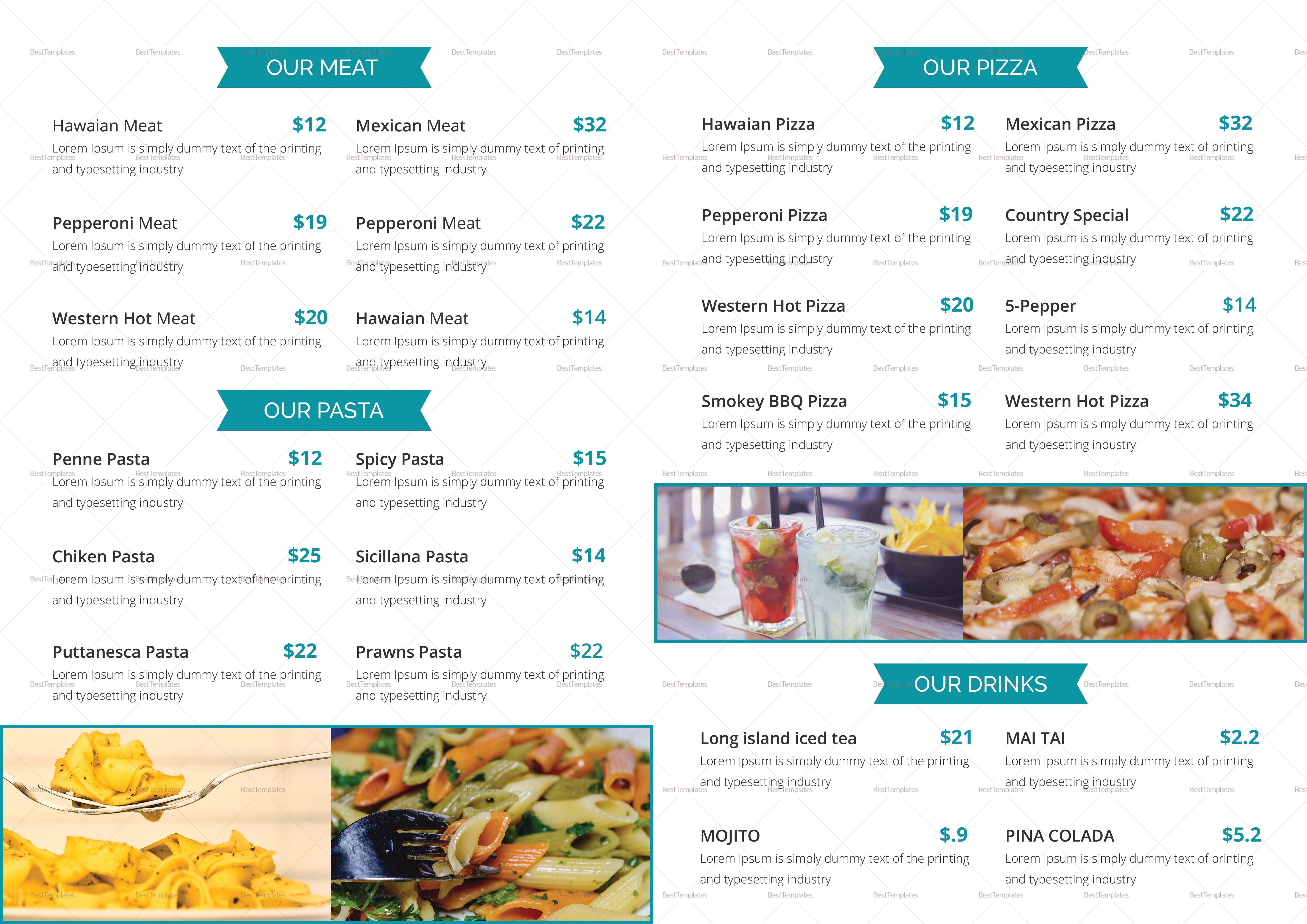 Bifold Food Menu Design Template