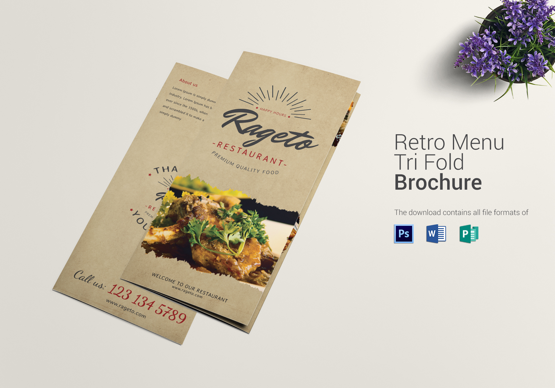 Retro Food Menu Trifold Design Template In PSD Publisher Word - Menu brochure template