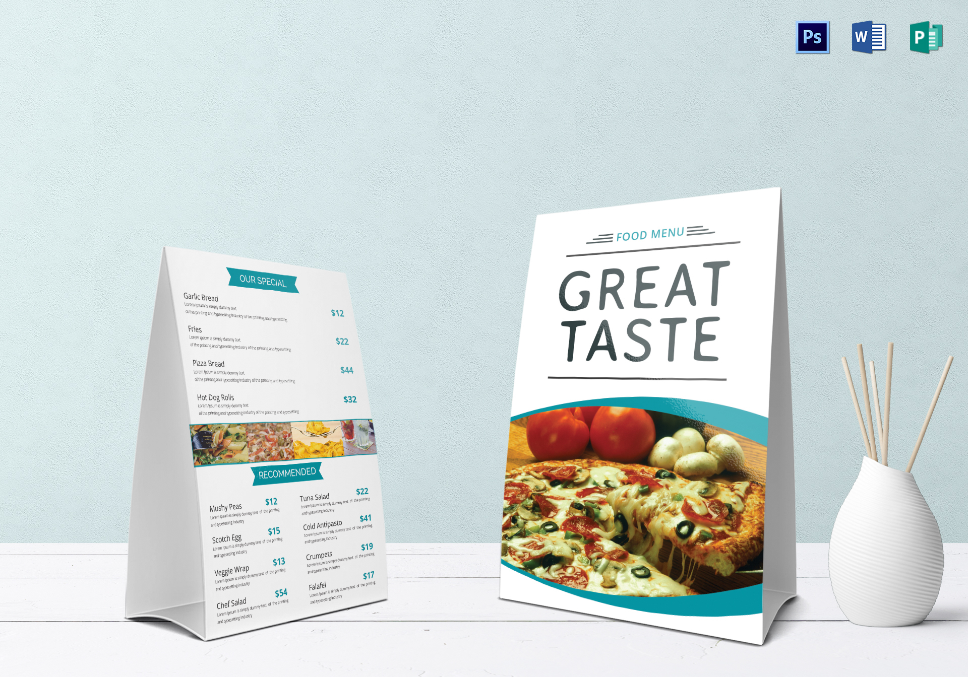 restaurant food table tent menu template in psd word publisher
