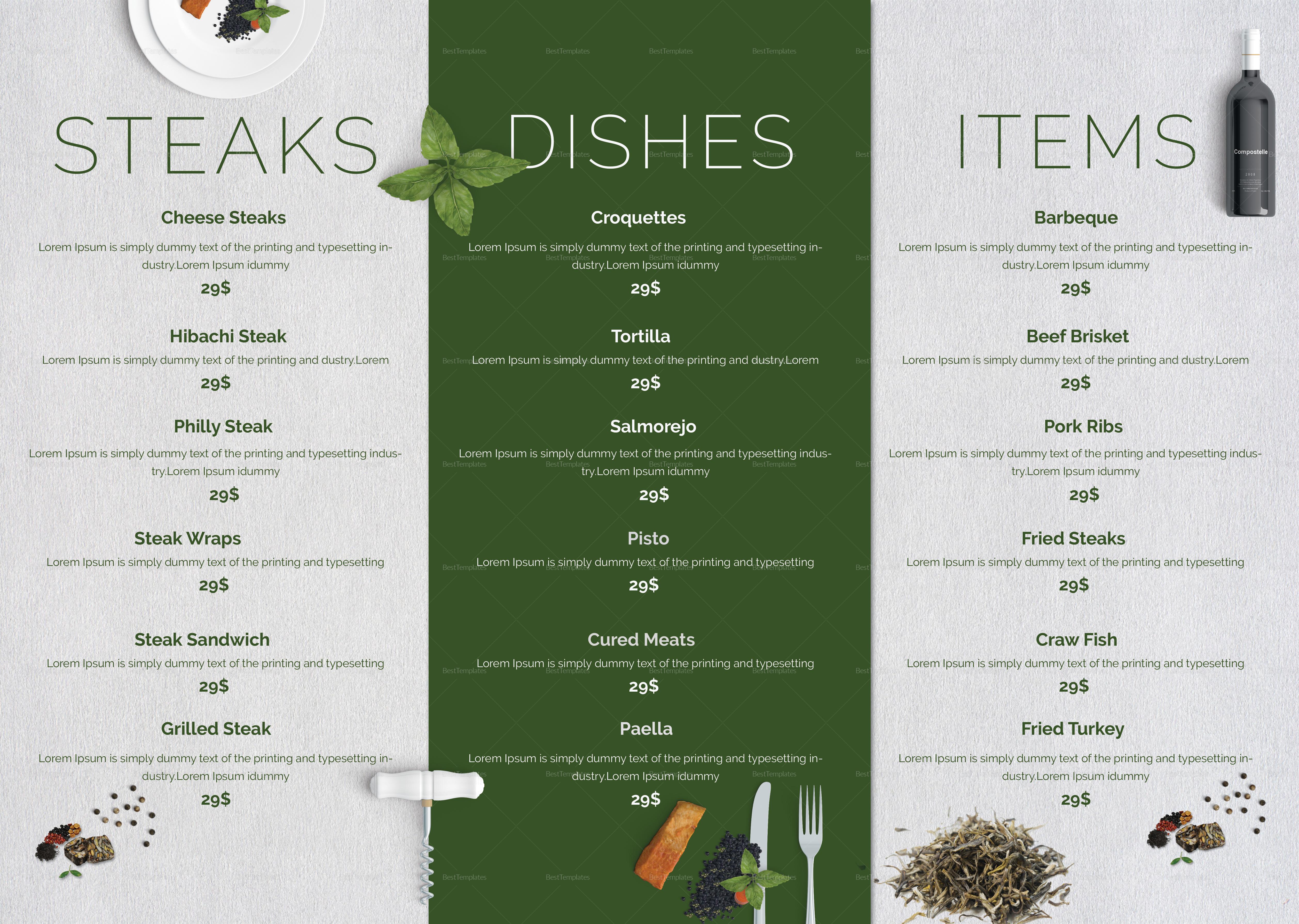 mc cafe menu design template in psd word publisher