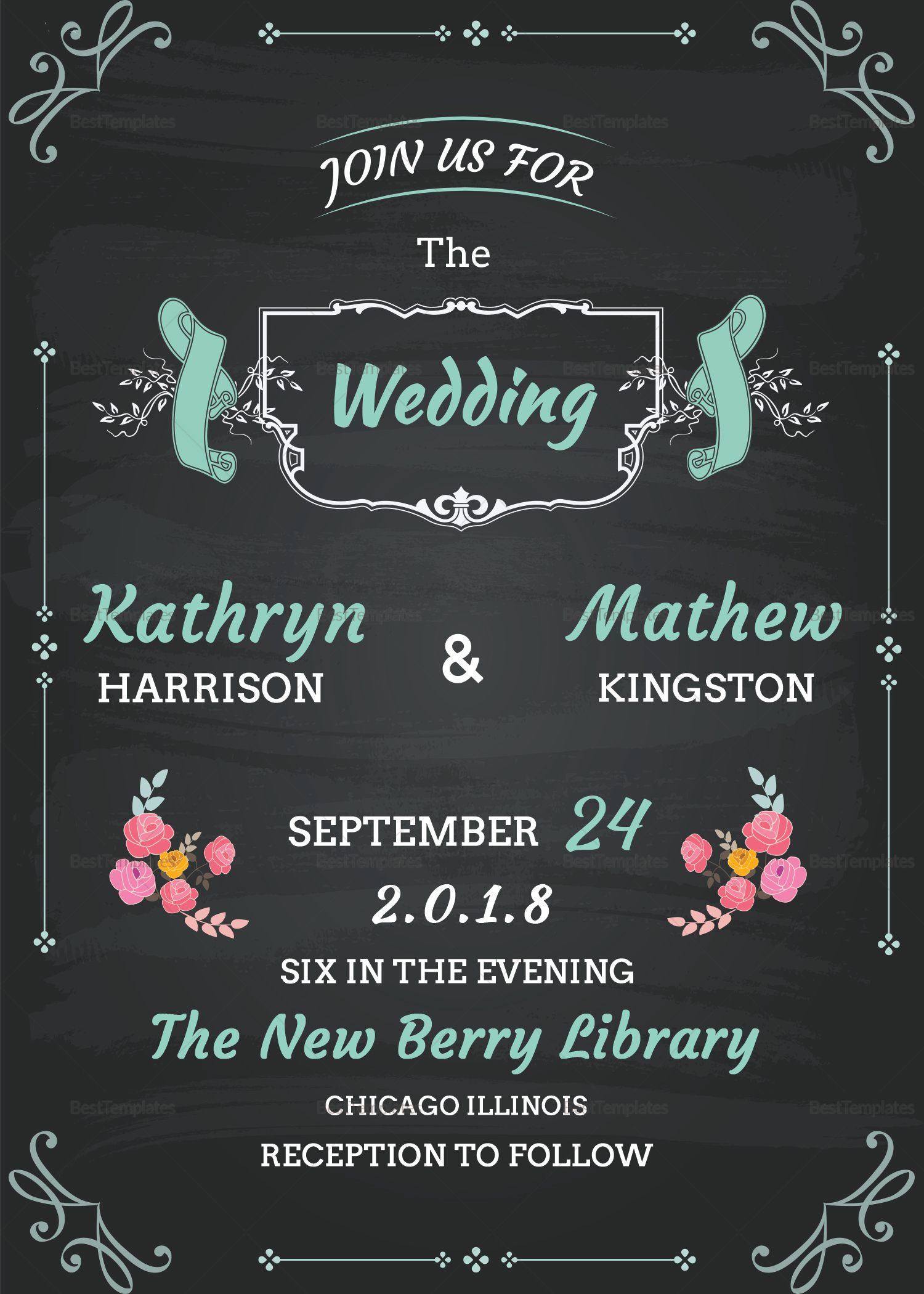Chalkboard Wedding Invitation Card Design Template