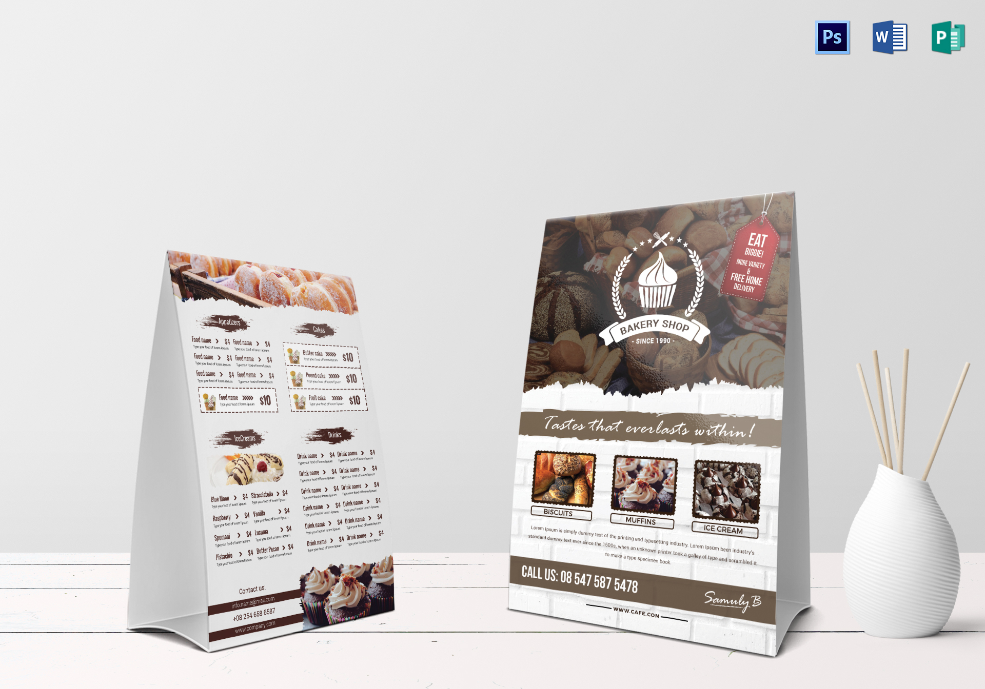 bakery menu table tent design template in psd word publisher