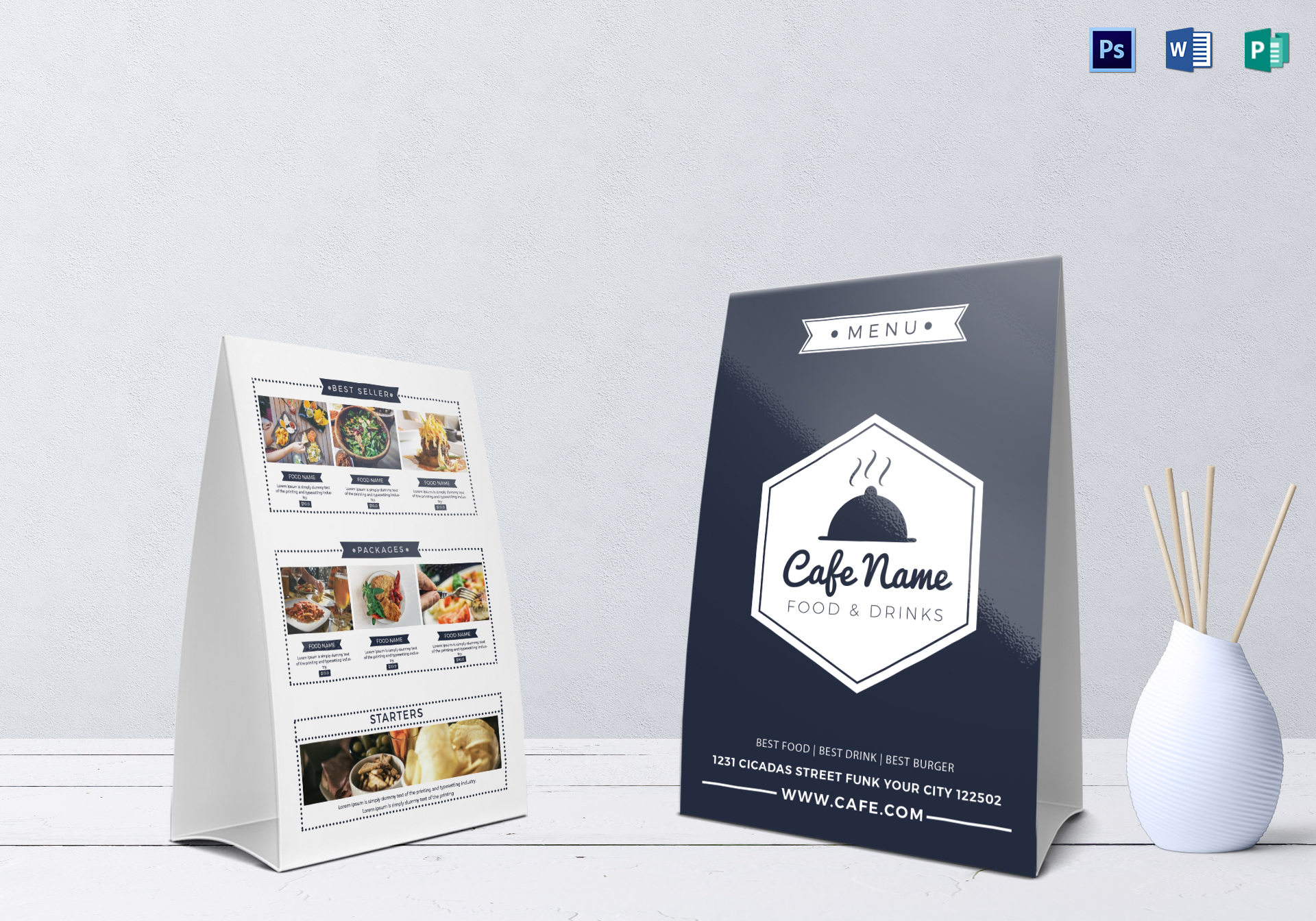 cafe menu table tent design template in psd word publisher