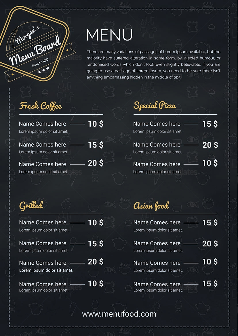 Simple Restaurant Menu Board Design Template in PSD, Word, Publisher