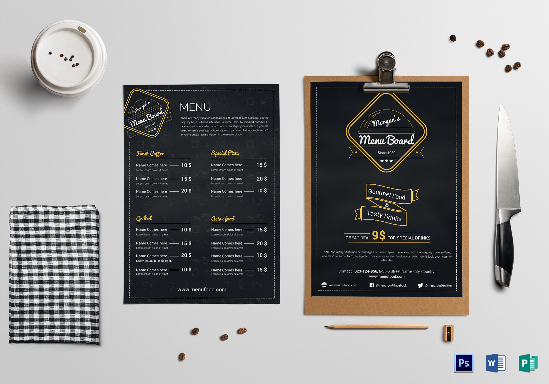 simple restaurant menu board design template in psd word publisher