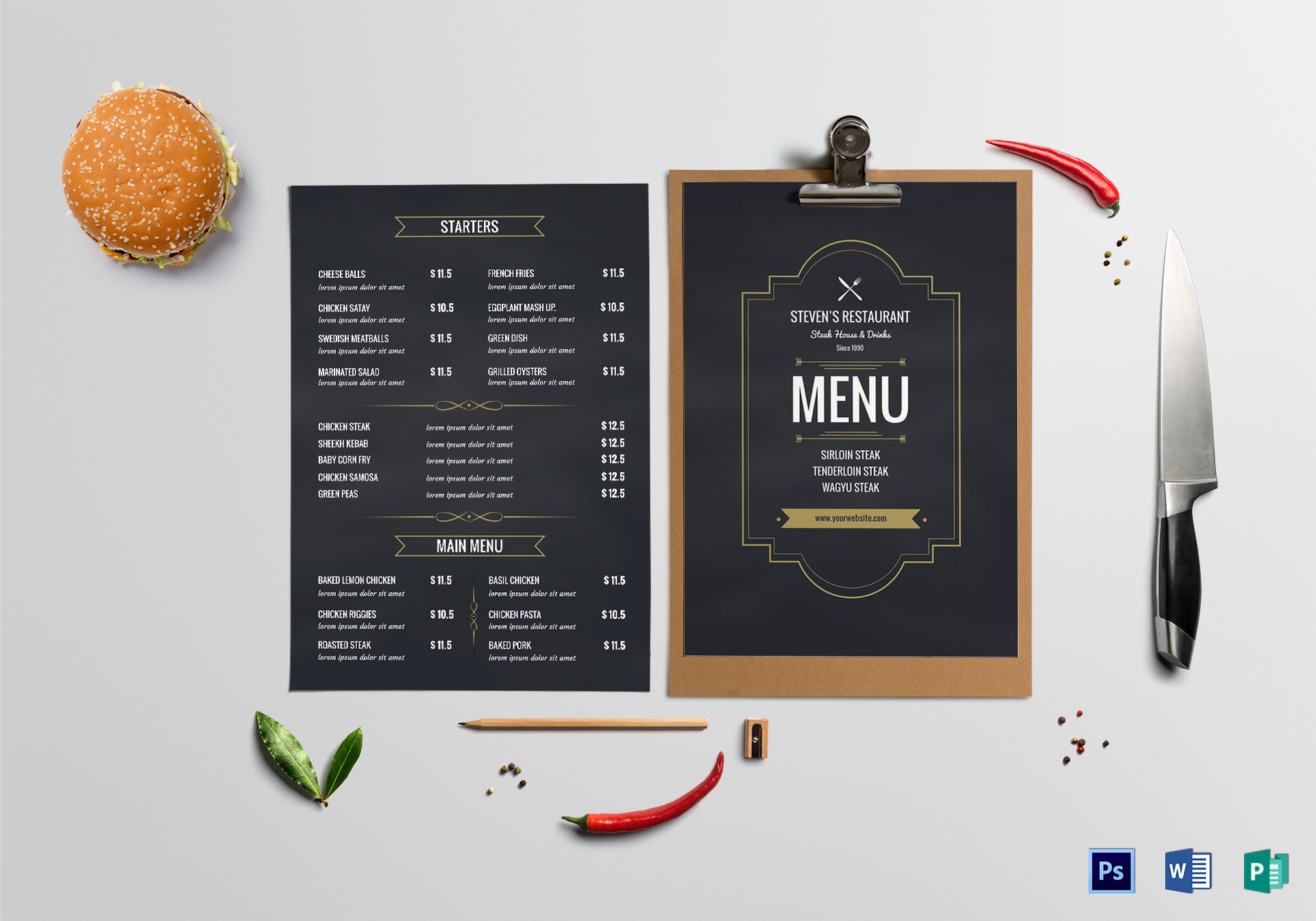 Cafe Menu Board Design Template in PSD, Word, Publisher