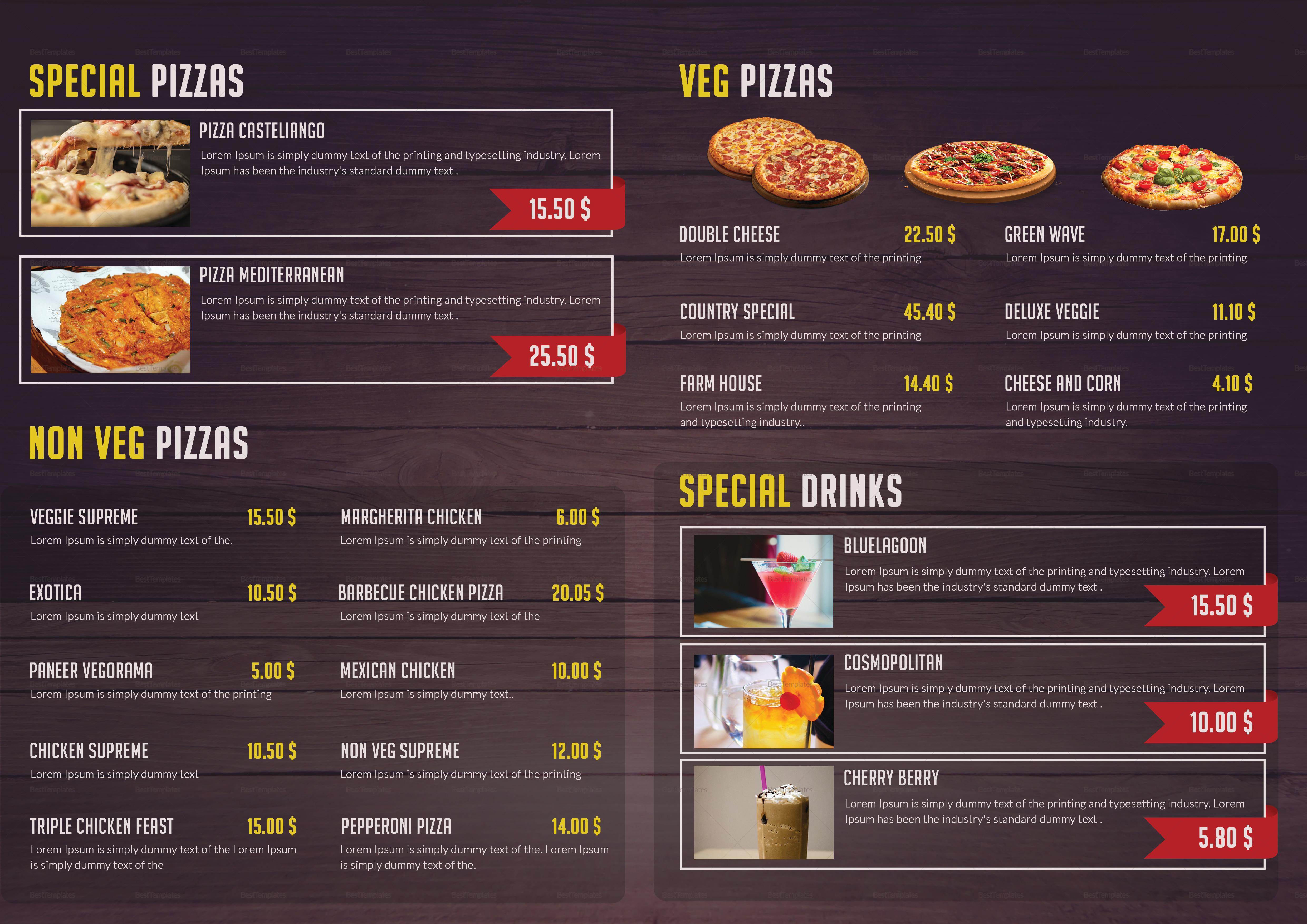 Pizza Menu Trifold Design Template