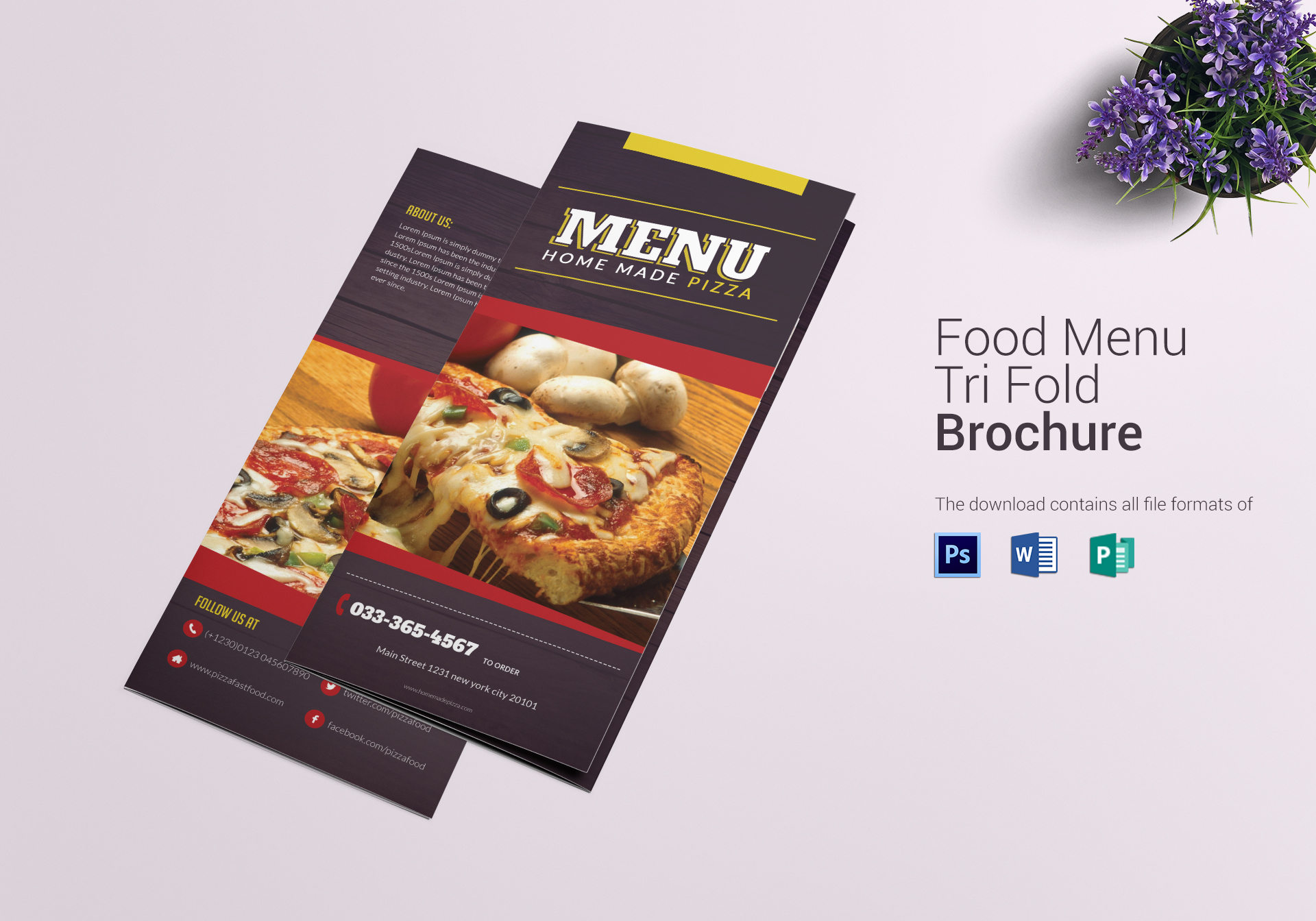 pizza menu trifold design template in psd word publisher