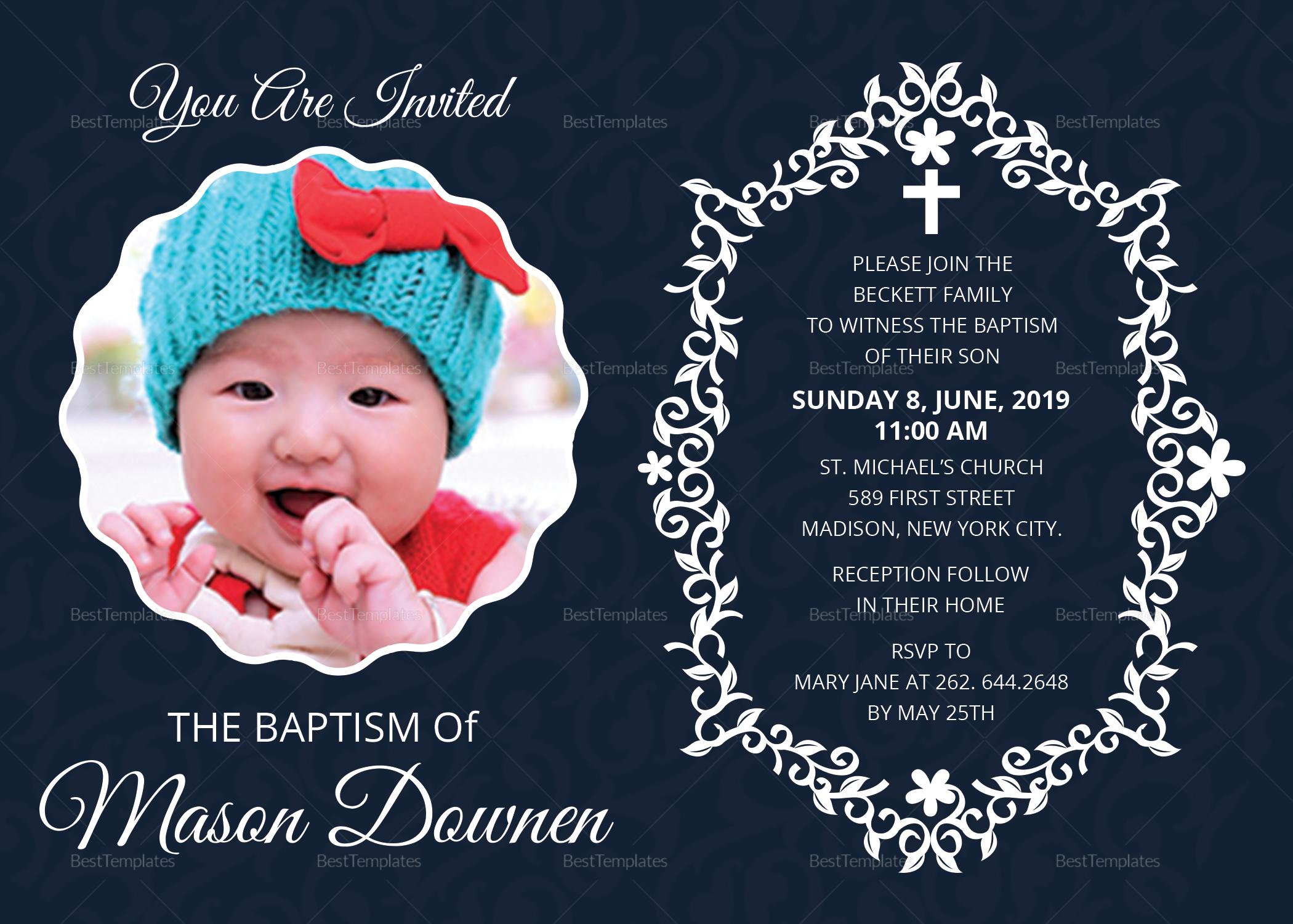 Christening Baptism Invitation Template