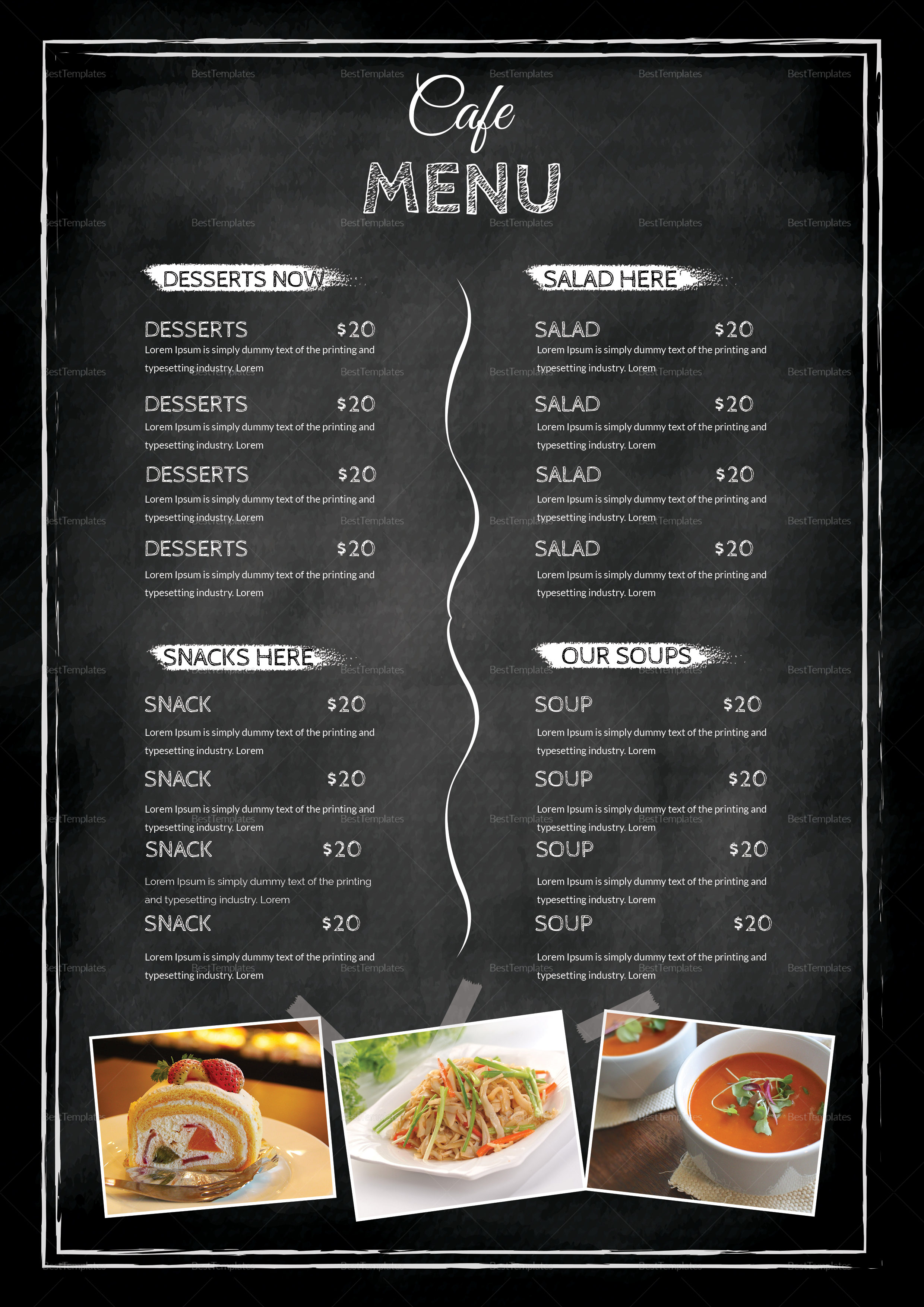black cafe menu table tent design template in psd  word