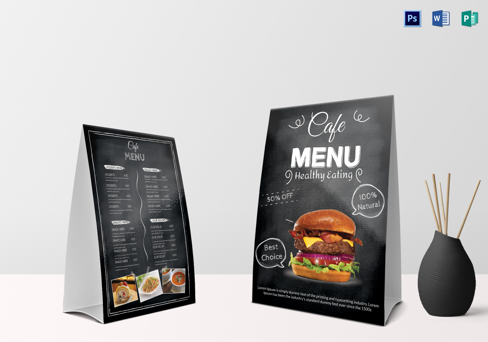 Black Cafe Menu Table Tent Template & Black Cafe Menu Table Tent Design Template in PSD Word Publisher