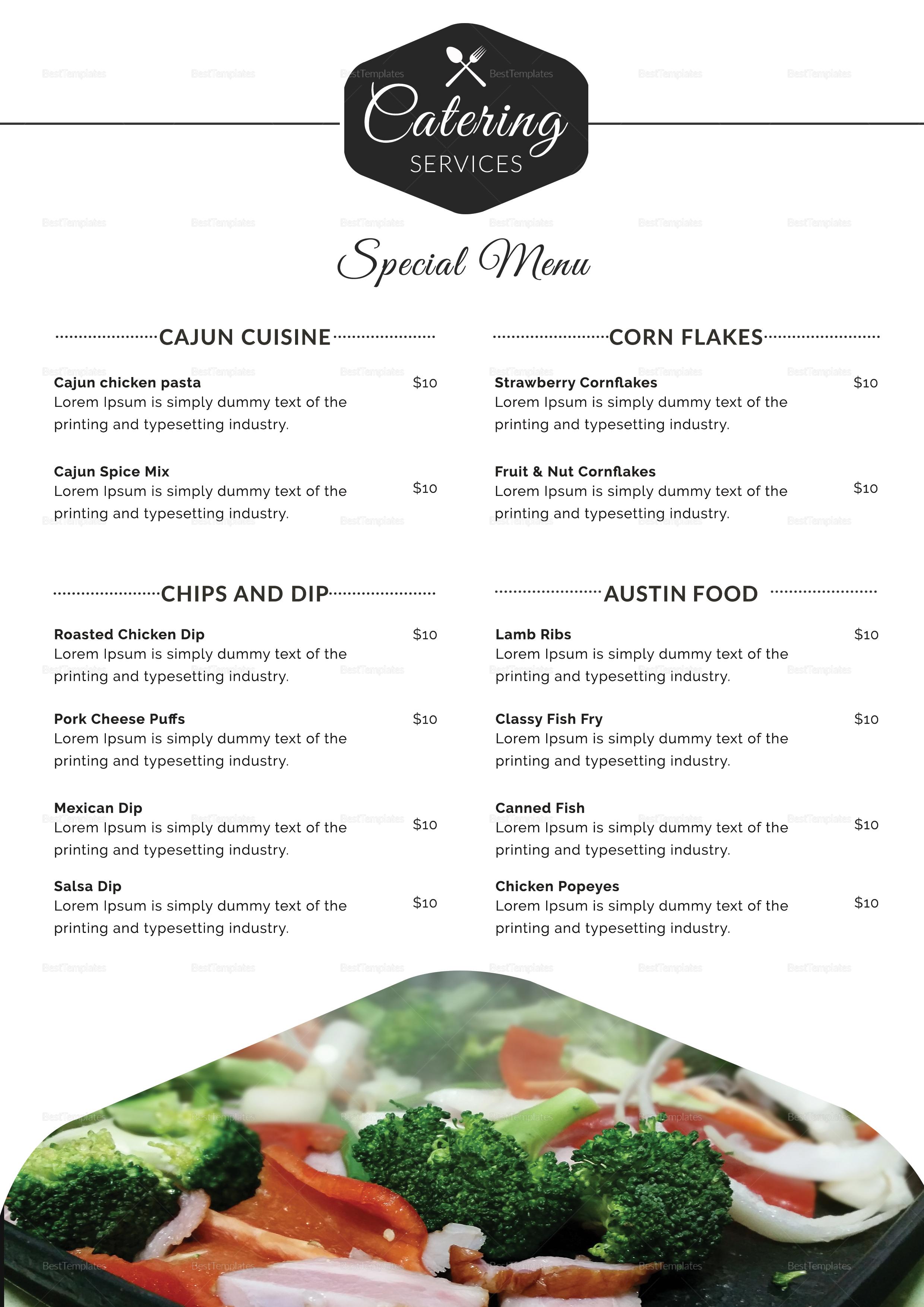 Food Catering Service Menu Design Template