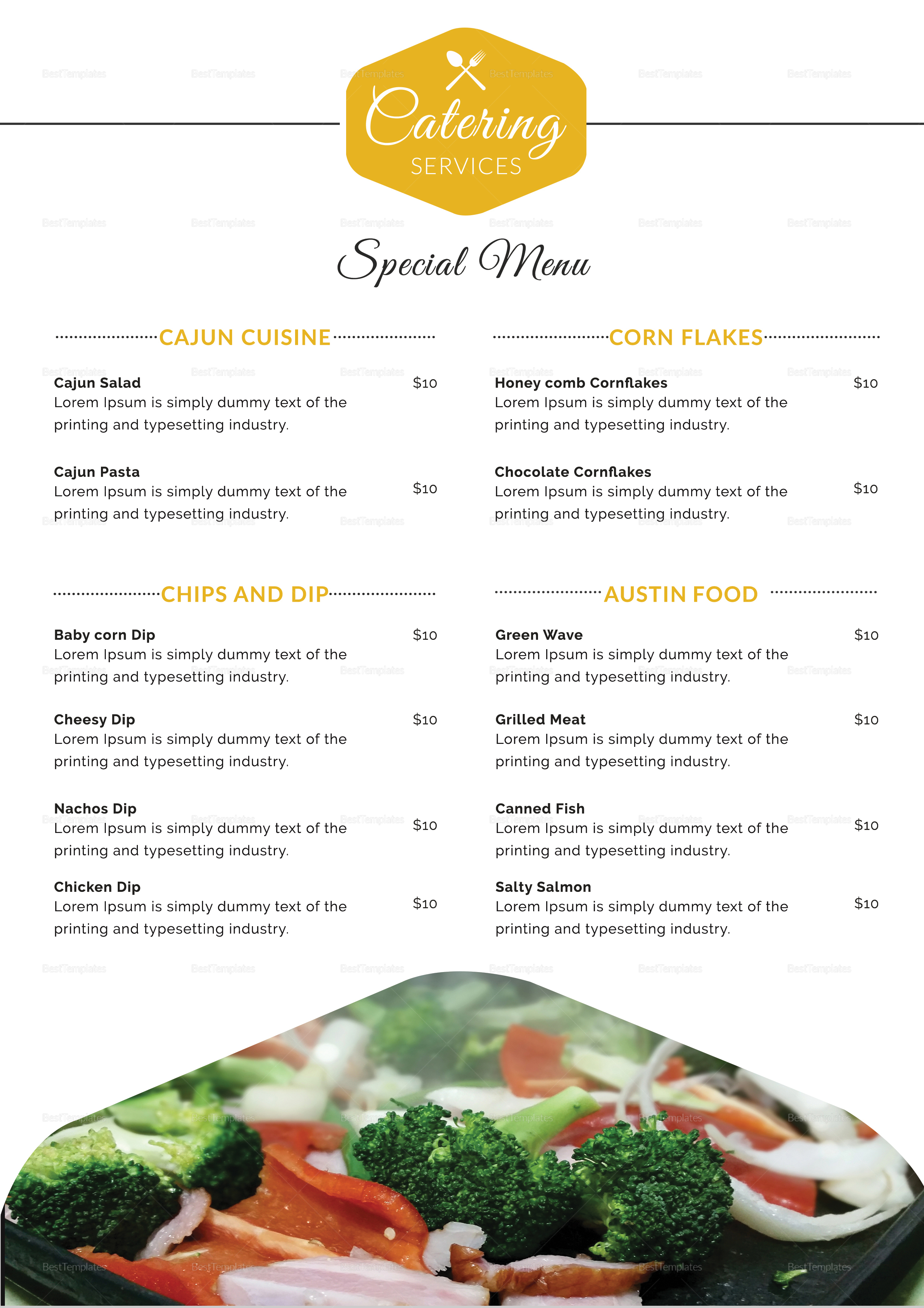 Food Catering Service Menu