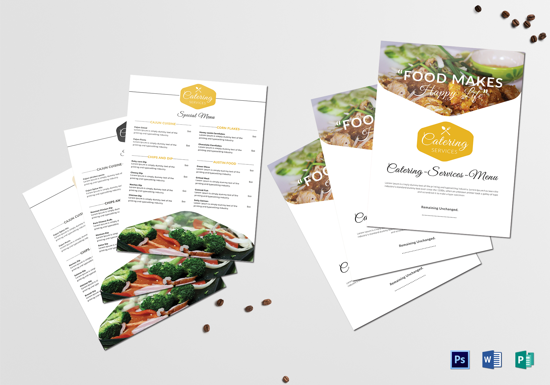 food catering service menu design template in psd word publisher