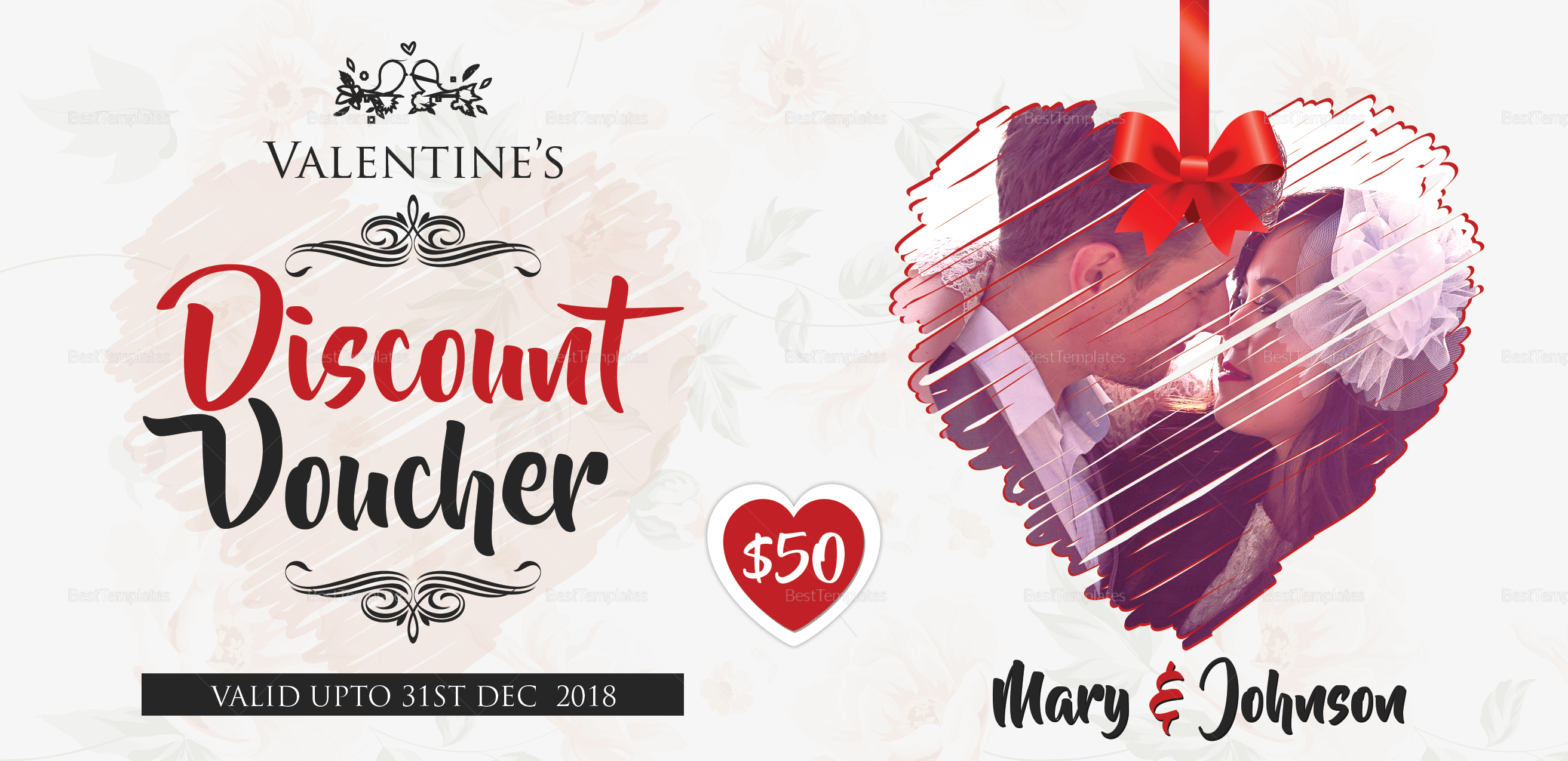 Valentine Discount Voucher Design Template