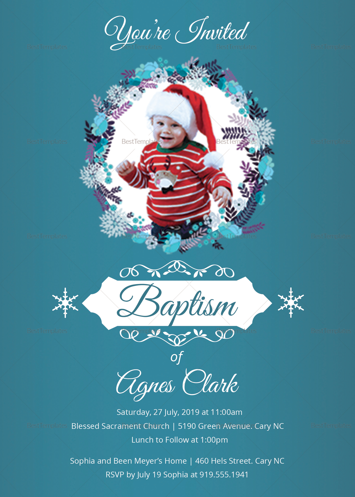 Christening Baptism Invitation Design Template