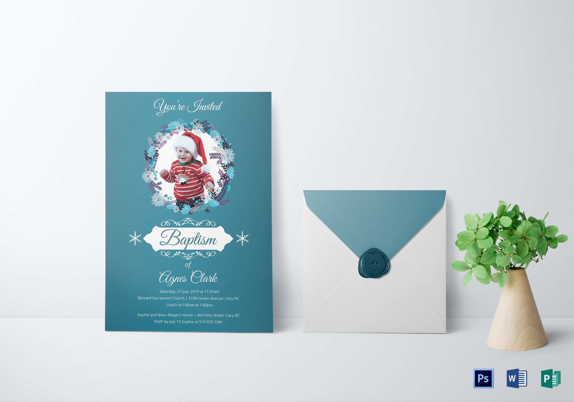 Christening Baptism Invitation Template