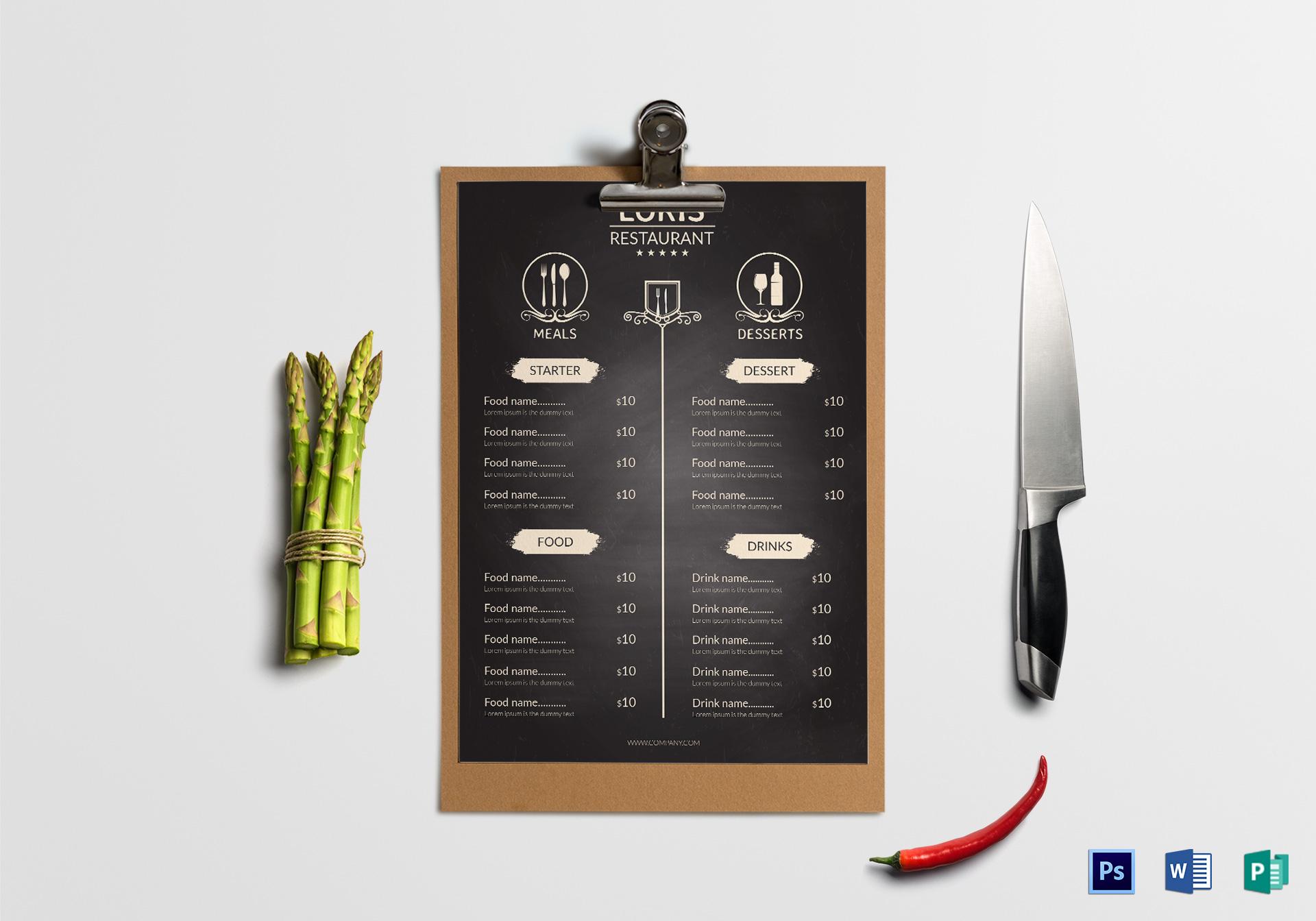 Restaurant Front Menu