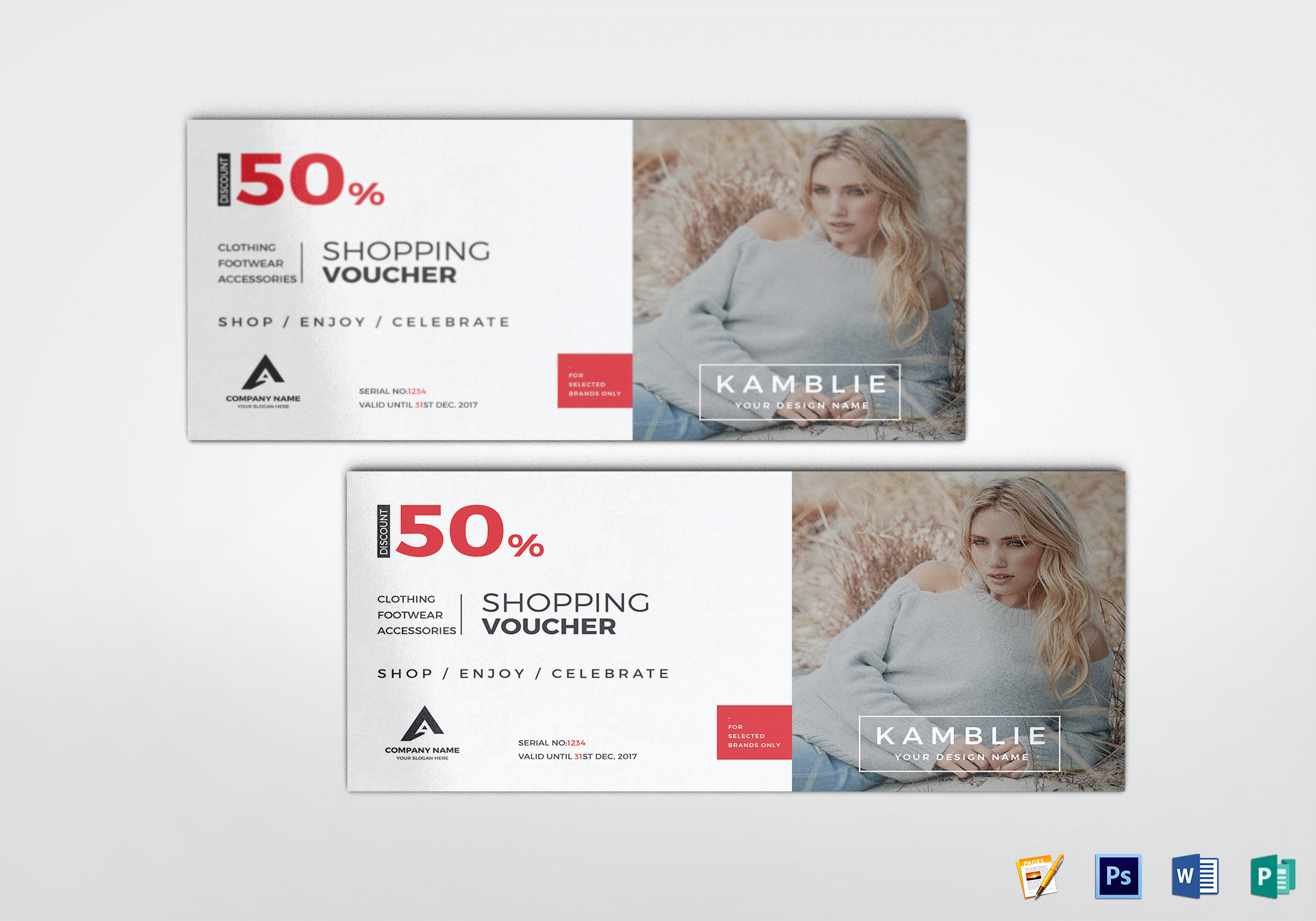 fashion coupon design template in psd word publisher pages