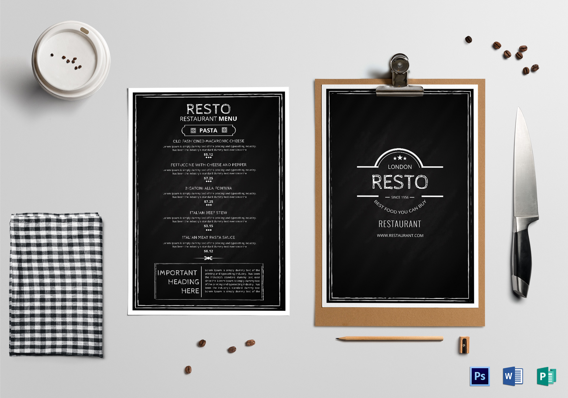 modern restaurant menu classic design template in psd