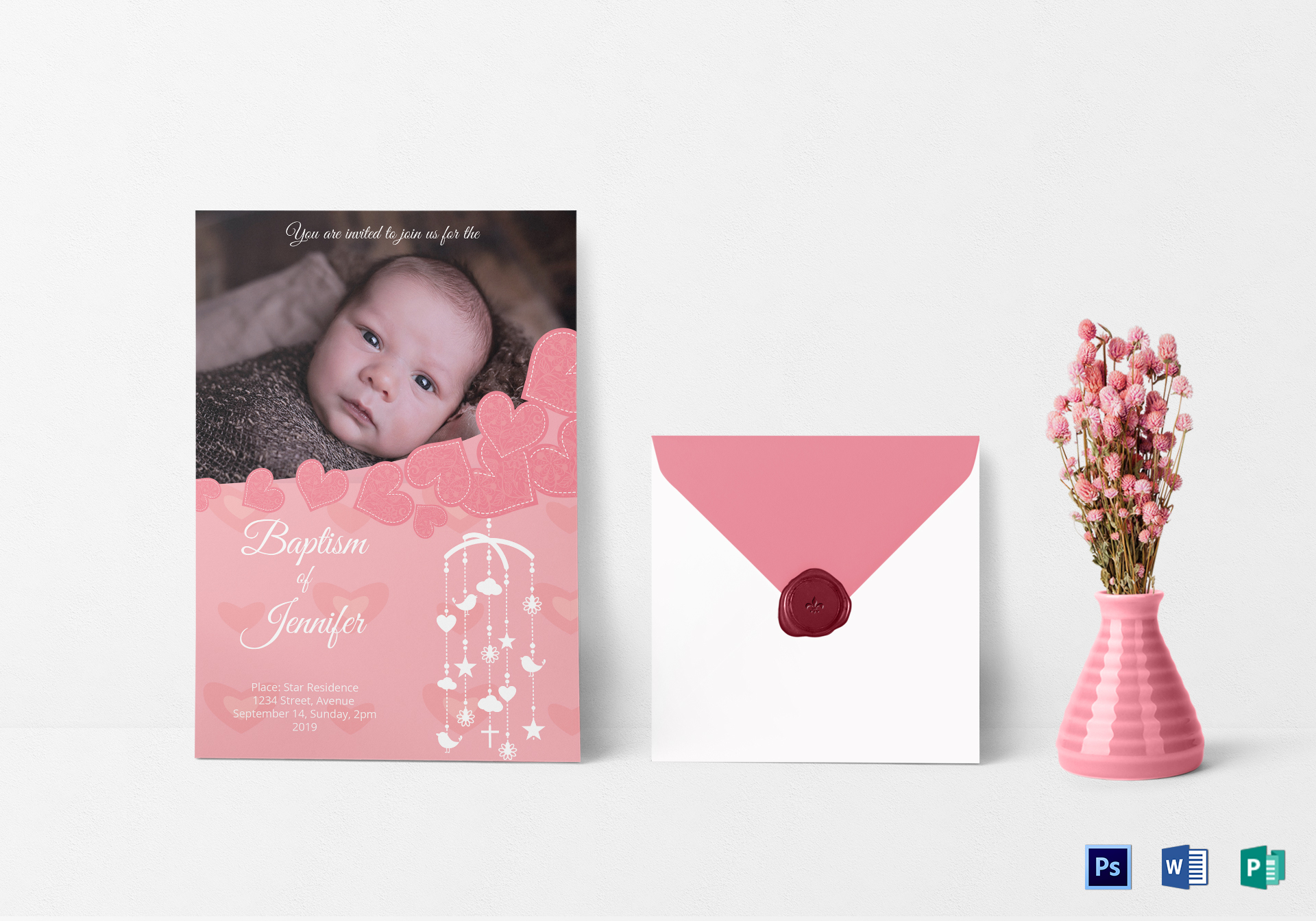 Printable Christening Baptism Invitation Card Design Template In