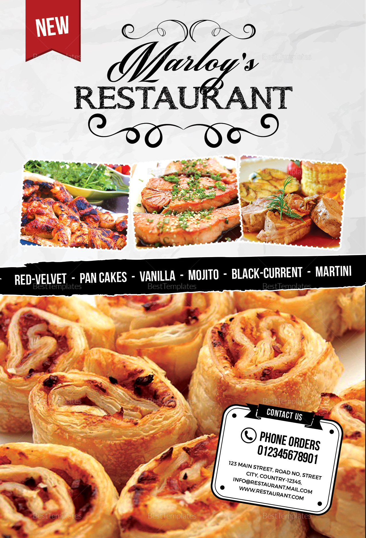 Restaurant table tent menu card design template in psd for Table menu restaurant