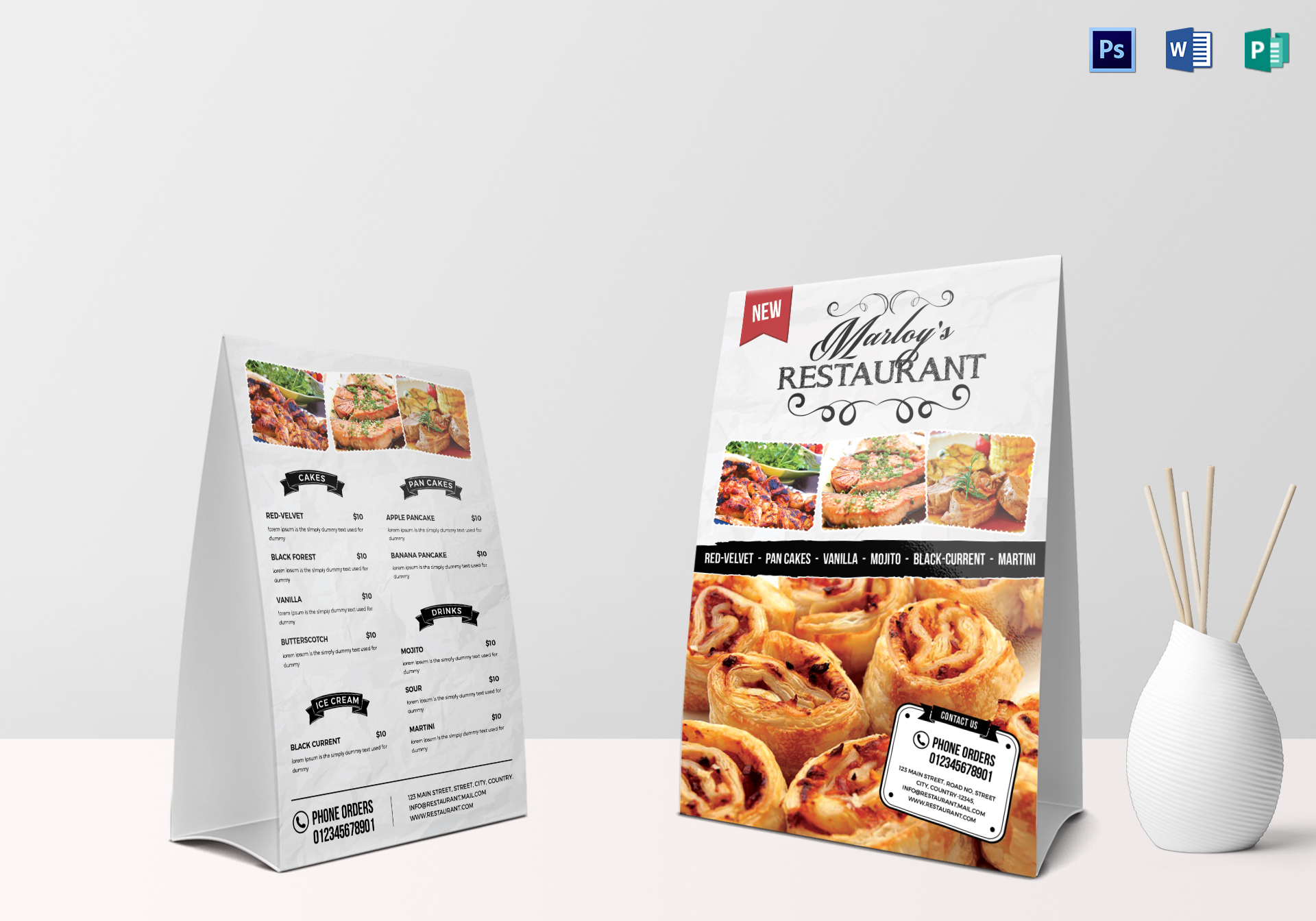 Restaurant Table Tent Menu Card Design Template In PSD, Word .