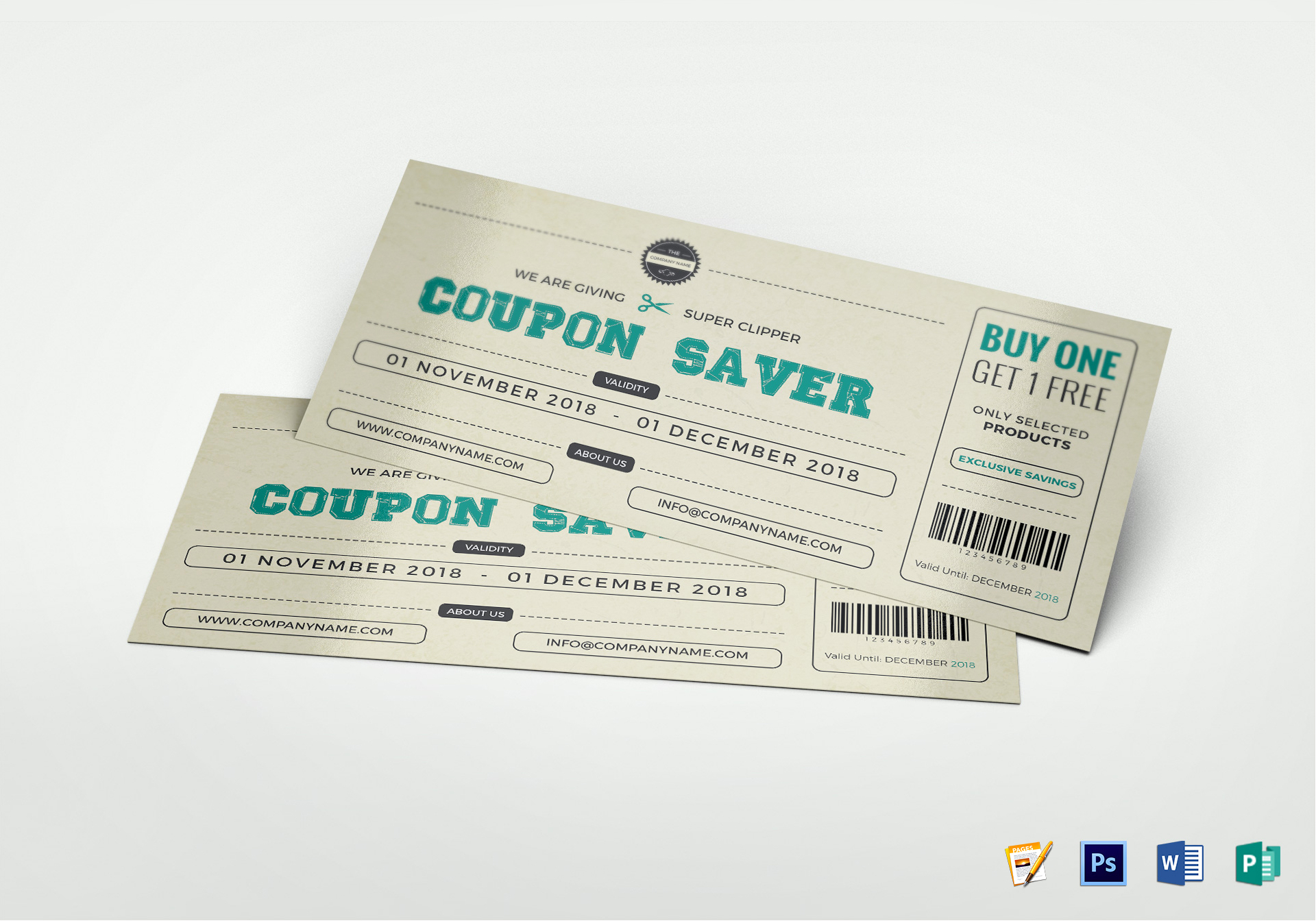 Gift Coupon Design Template in PSD, Publisher, Word, Pages
