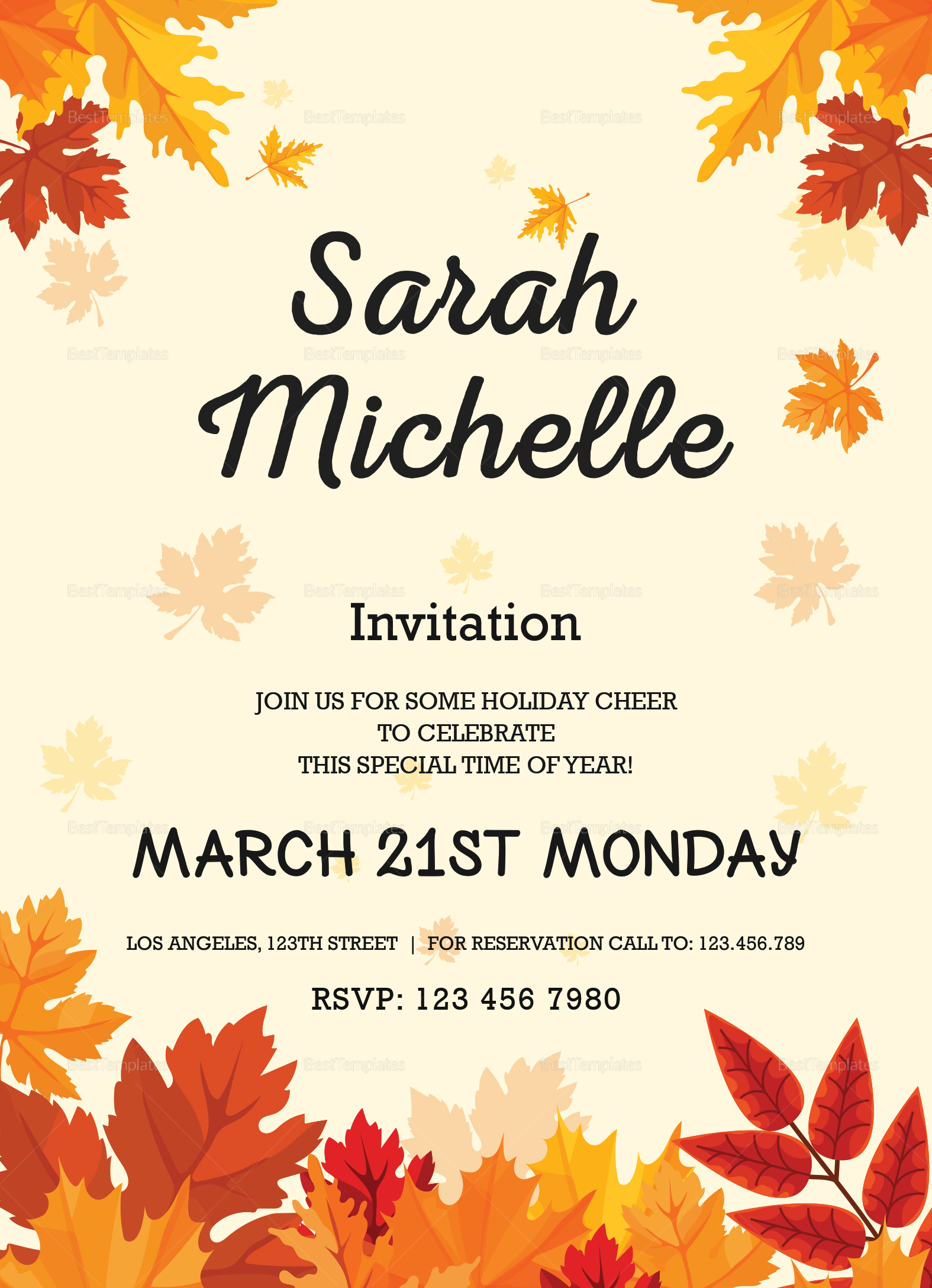 Autumn debut invitation card design template in word psd publisher autumn debut invitation card template autumn debut invitation card design template stopboris Images