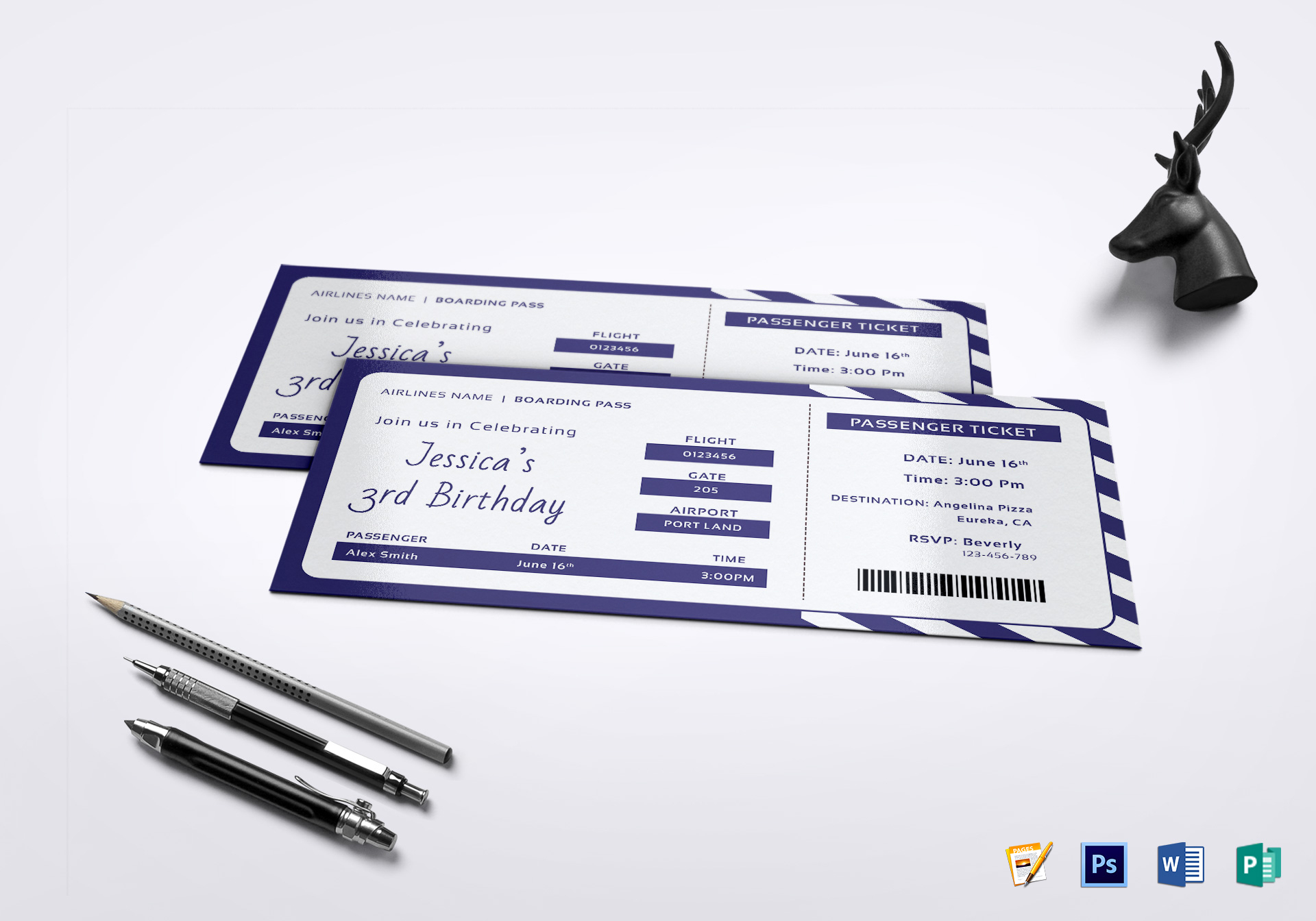 Birthday Boarding Pass Invitation Ticket Design Template in PSD ...