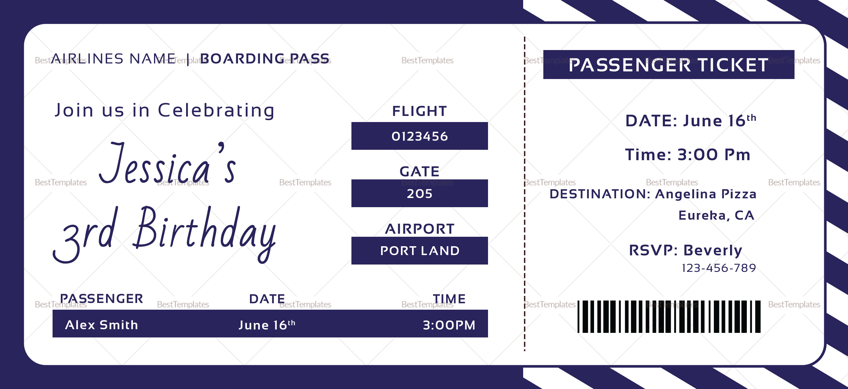 birthday boarding pass invitation ticket design template in psd word publisher pages. Black Bedroom Furniture Sets. Home Design Ideas