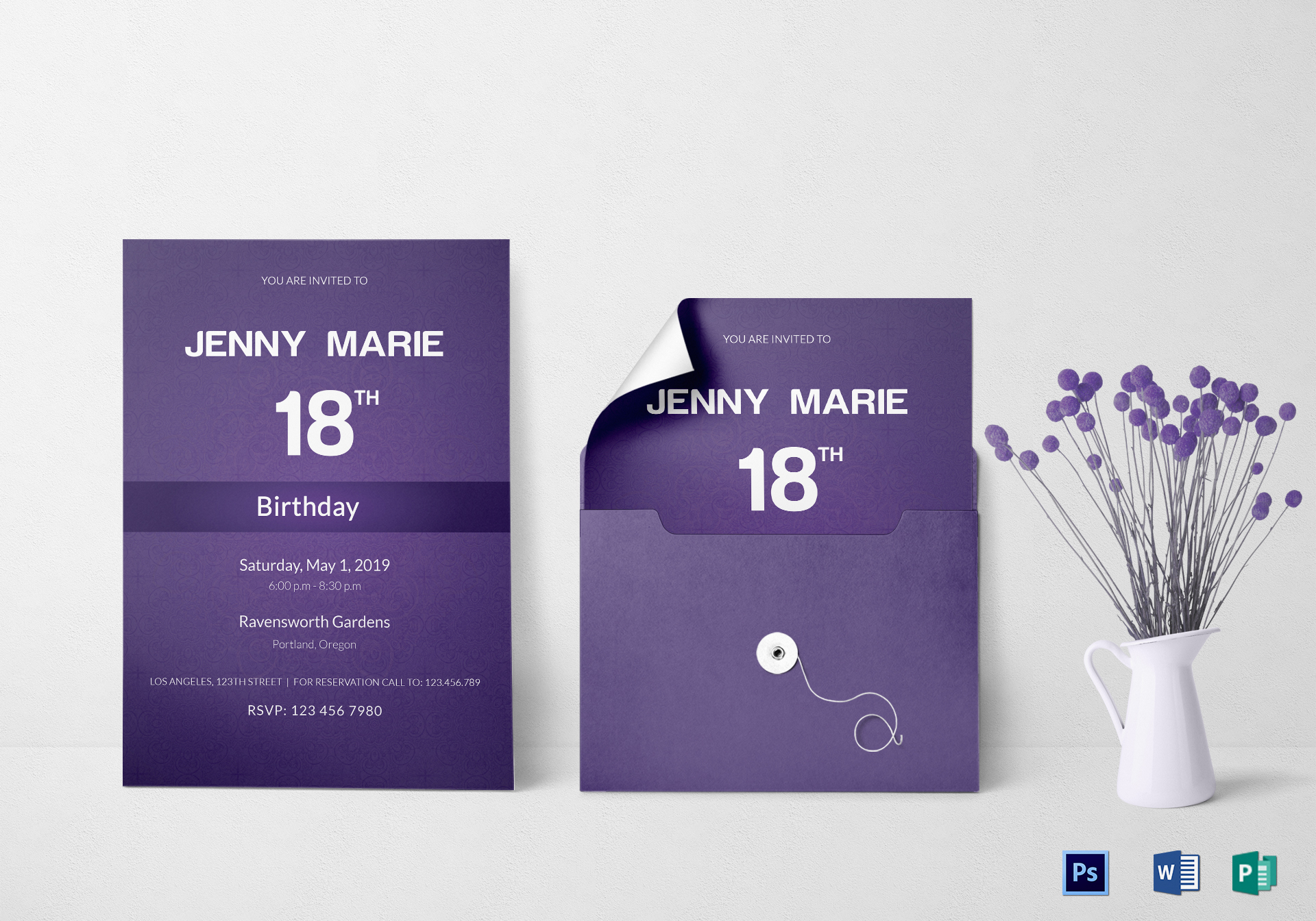 Debut Event Invitation Card Design Template in Word PSD Publisher