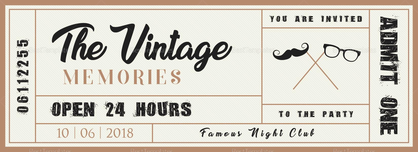 Vintage Event Ticket Design Template