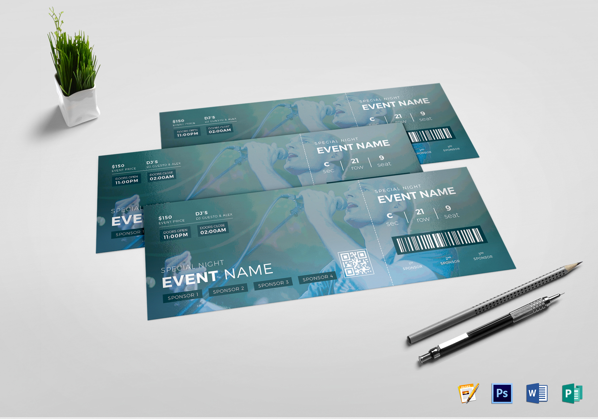 Watercolor Event Ticket
