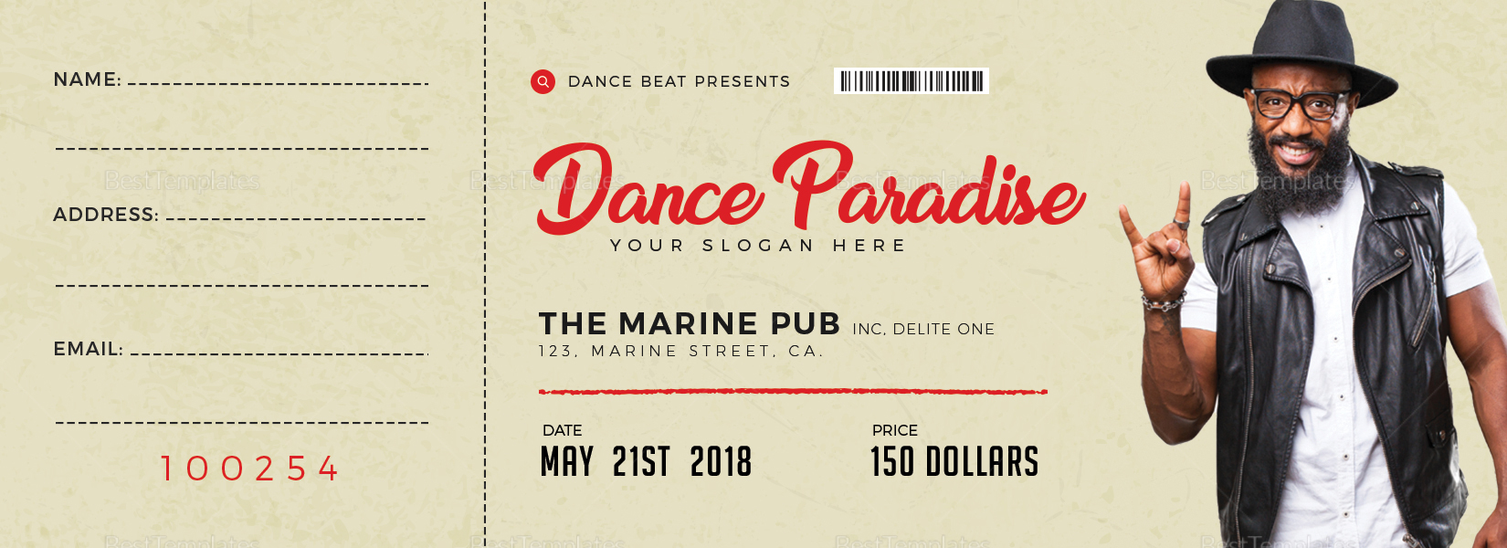 dance event ticket design template in psd  word  publisher